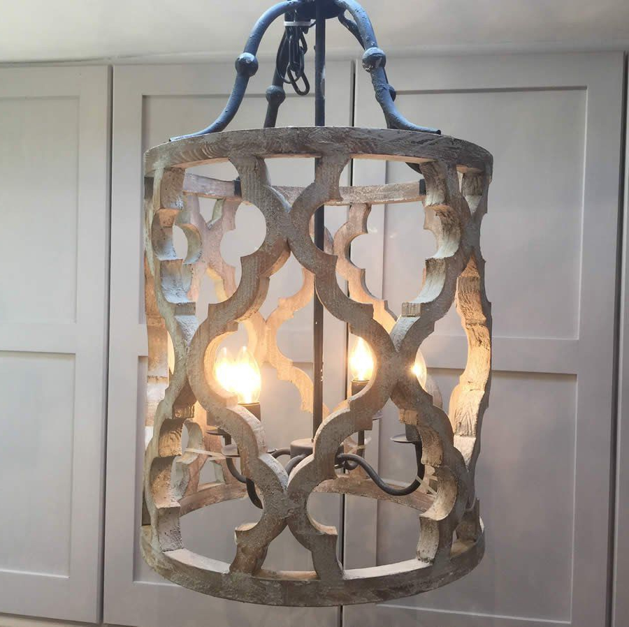 Most Popular Nisbet 4 Light Lantern Geometric Pendants For Ikat Design Carved Wooden 4 Light Lantern Pendant With Metal (View 17 of 25)