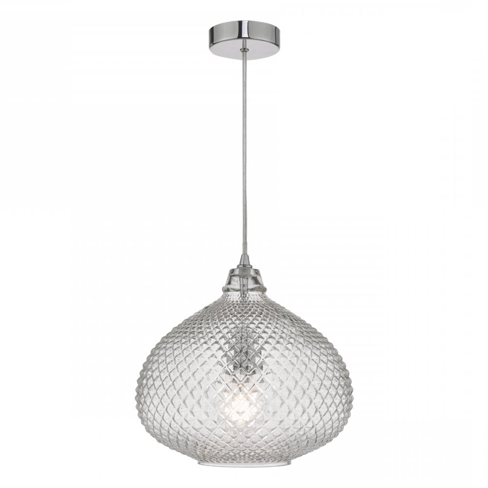 Most Popular Terry 1 Light Single Bell Pendants Regarding Roi0108 Roisin Single Light Ceiling Pendant In Polished Chrome Finish With  Textured Clear Glass Shade (View 16 of 25)