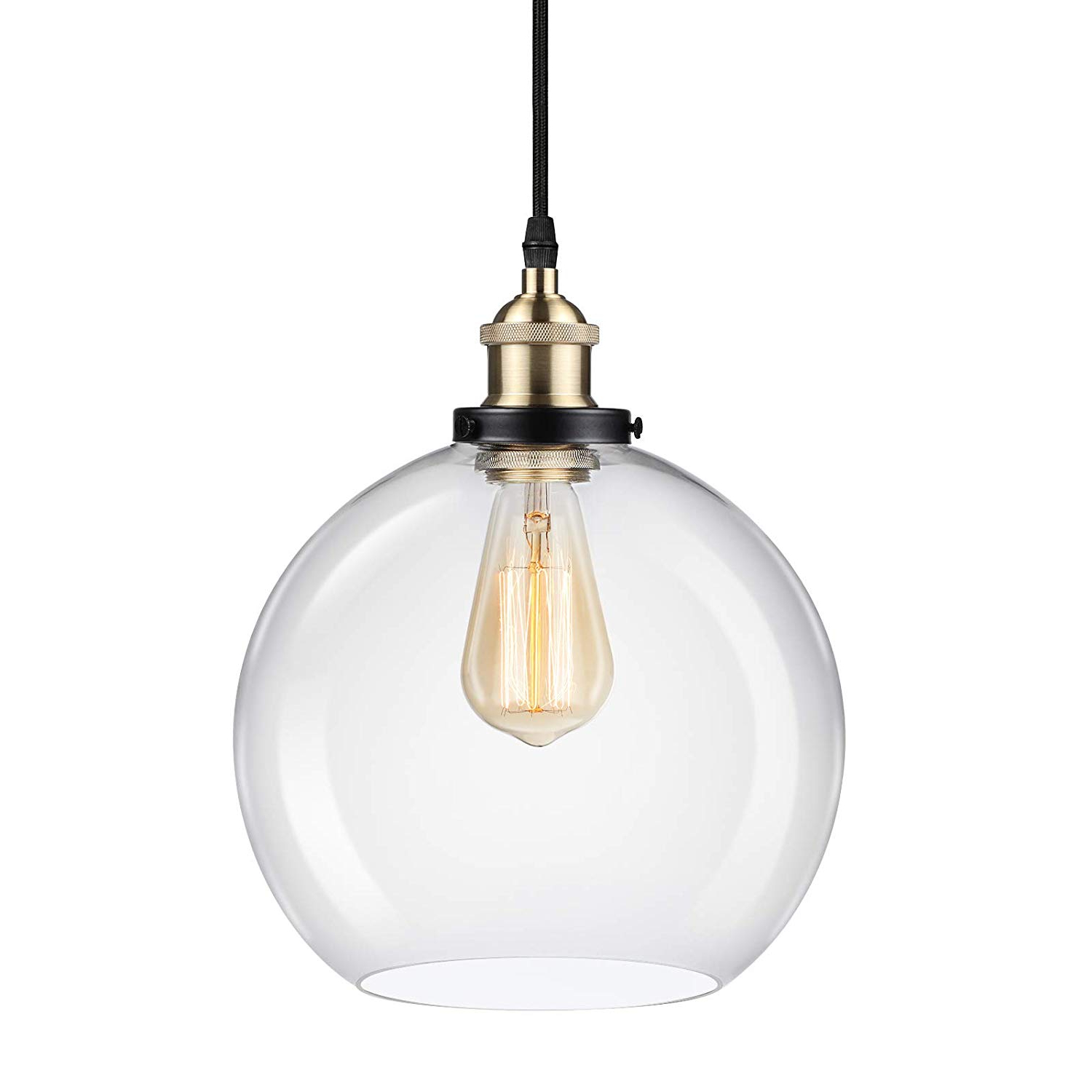 Most Recent Ascher Industrial Edison Vintage Pendant Light, Clear Glass Shade 1 Light  Ceiling Light Fixture, Antique Brass Brushed E26 Socket,  (View 4 of 25)