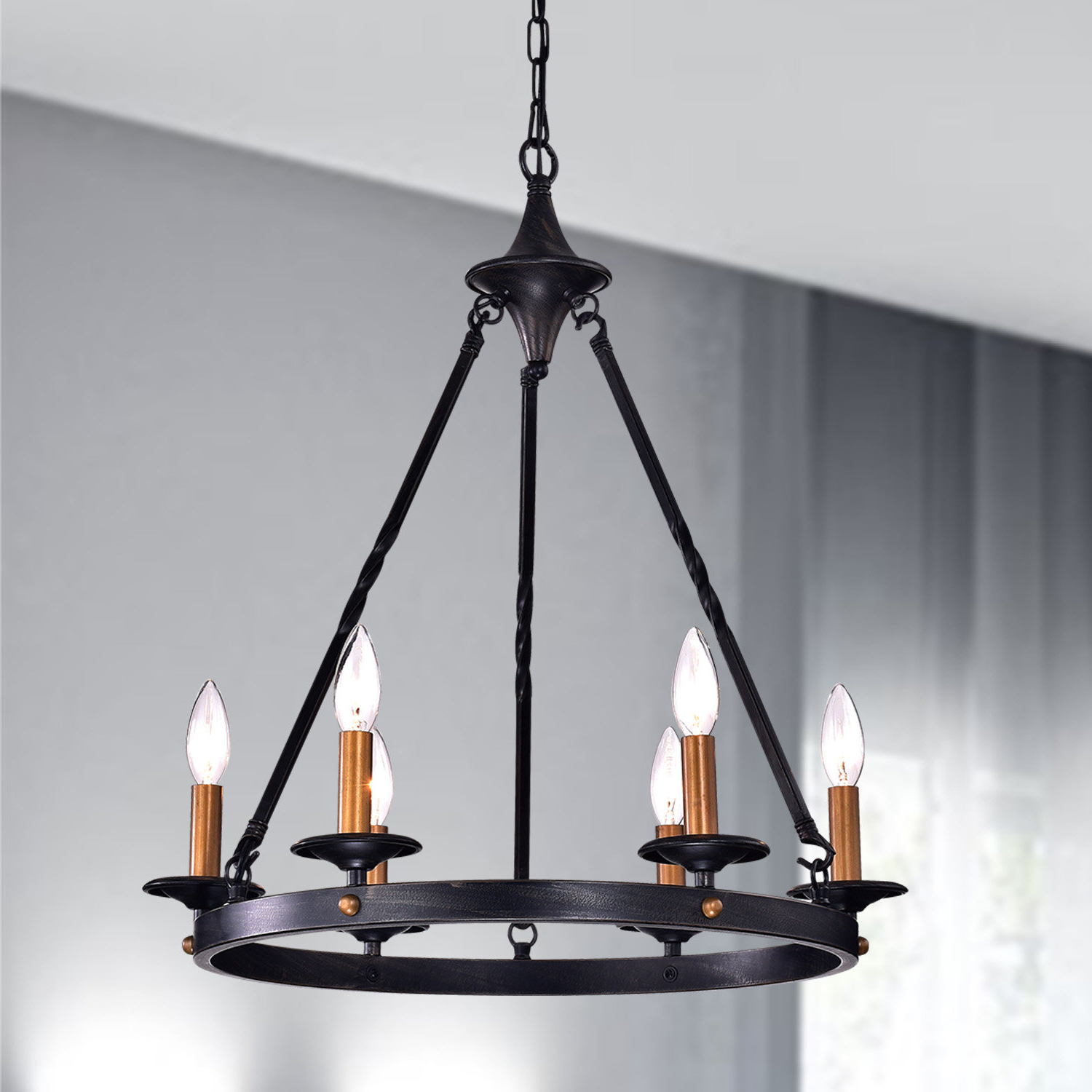 Most Recent Brian 6 Light Wagon Wheel Chandelier Pertaining To Rockland 4 Light Geometric Pendants (View 14 of 25)
