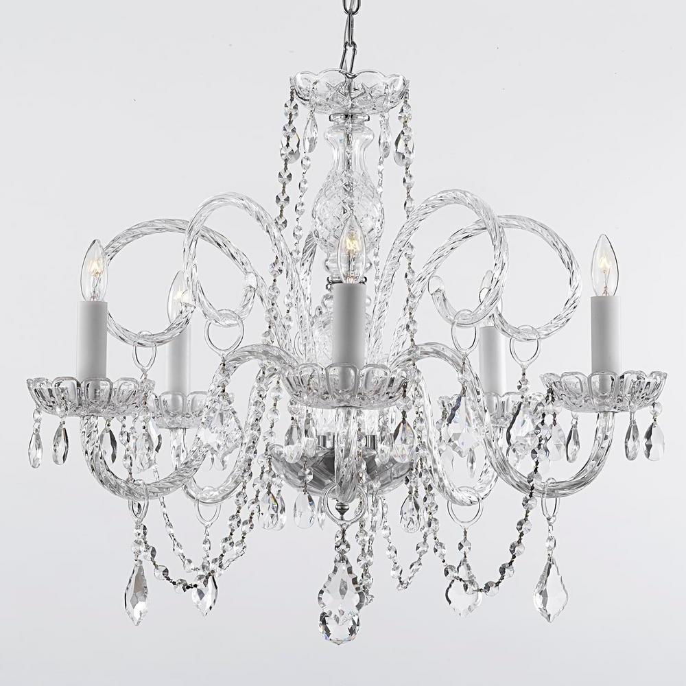 Most Recent Empress Crystal 5 Light Chandelier Inside Verdell 5 Light Crystal Chandeliers (View 16 of 25)
