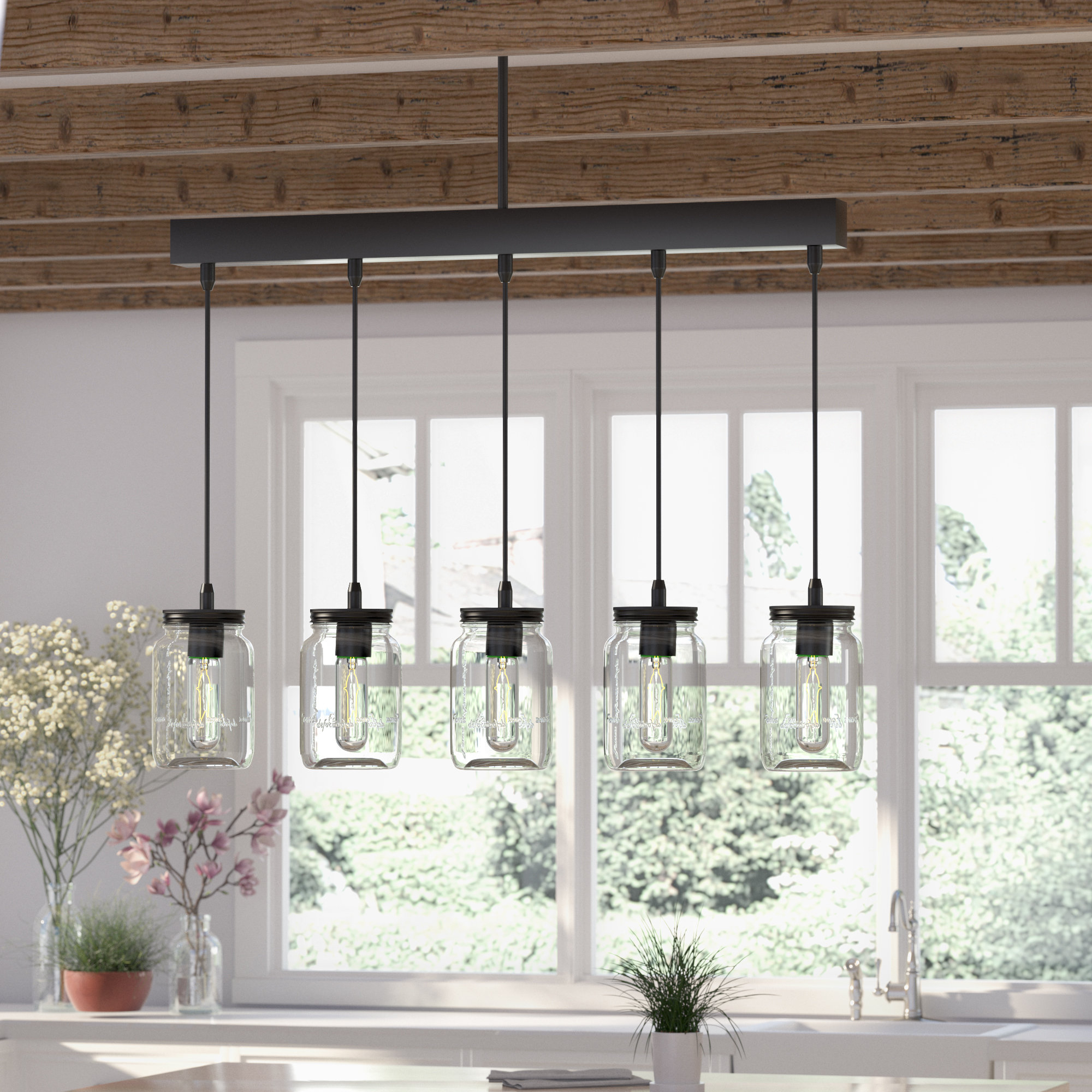 Most Recent Hinerman 5 Light Kitchen Island Pendants Within Wood Beam Island Light (View 17 of 25)