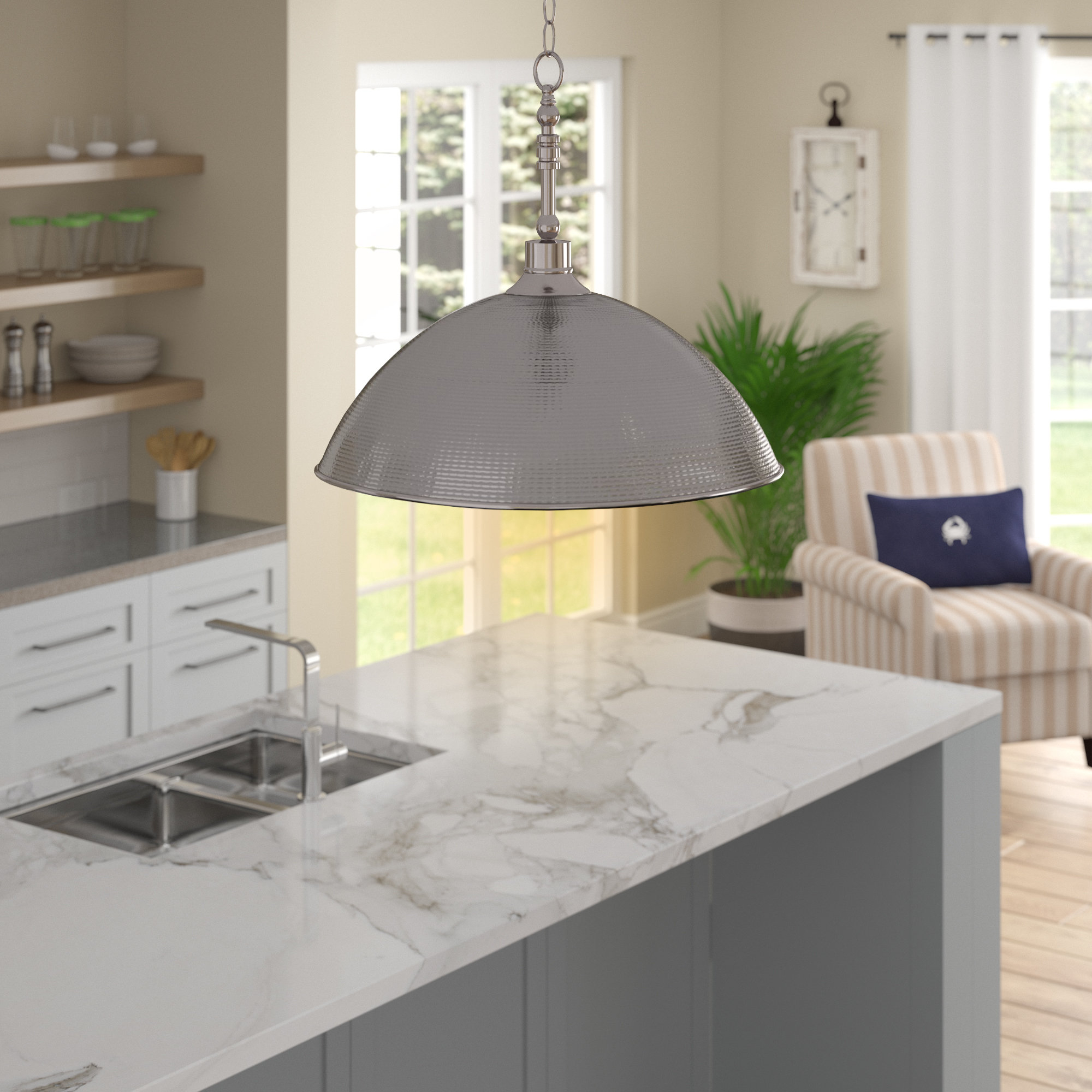 Most Recent Irwin 1 Light Single Globe Pendants Within Bridgepointe 1 Light Single Dome Pendant (View 16 of 25)