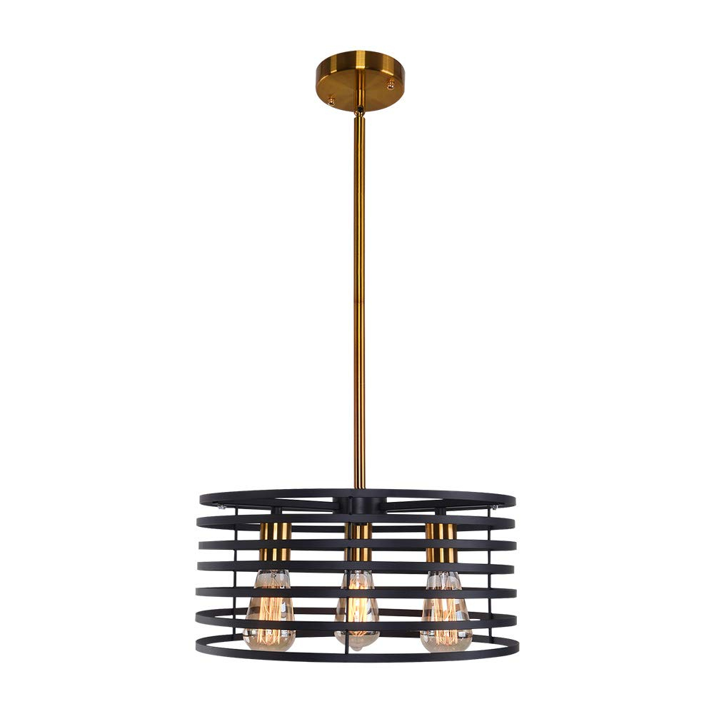 Most Recent Lingkai Modern Chandeliers 3 Light Round Linear Cage Pendant Lighting  Kitchen Island Light Industrial Farmhouse Ceiling Light Fixture Within Freemont 5 Light Kitchen Island Linear Chandeliers (View 25 of 25)