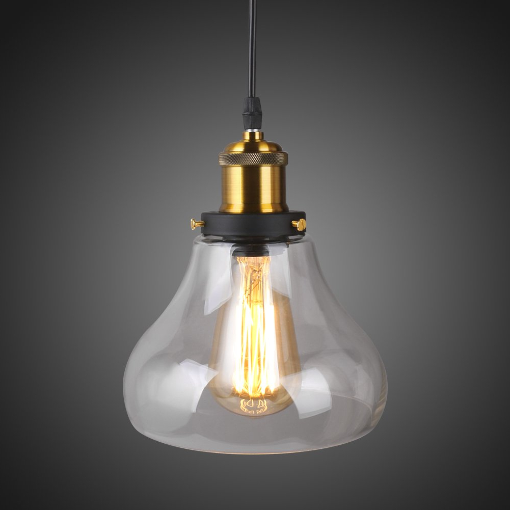 Most Recent Linkax Industrial Pendant Glass Hanging Light Vintage Style 1 Light Edison  Ceiling Clear Lamp Fixture(Bulb Not Included) Within Vintage Edison 1 Light Bowl Pendants (View 10 of 25)