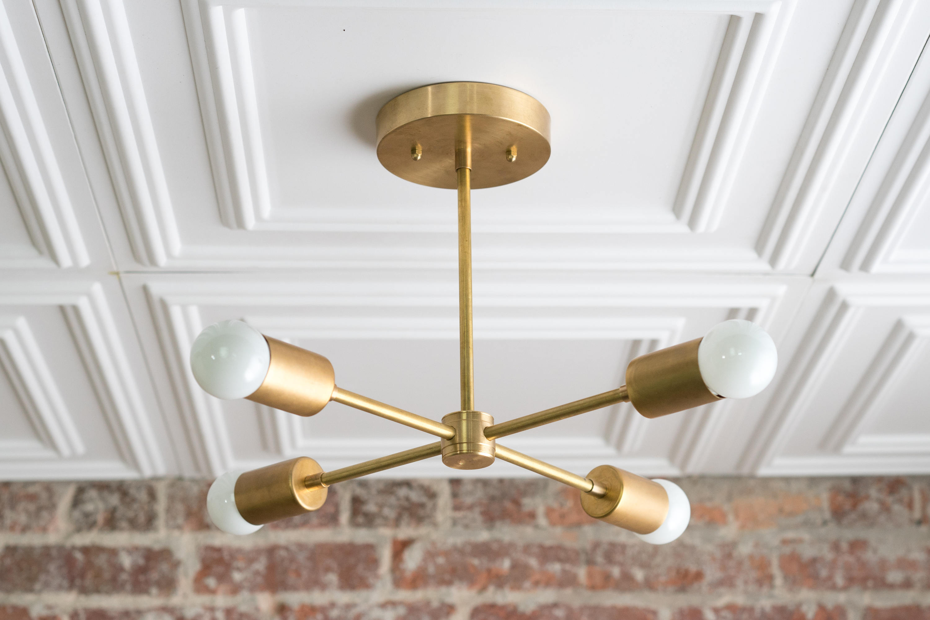 Most Recent Lynn 6 Light Geometric Chandeliers Inside Gold Sputnik Light – Geometric Chandelier – Semi Flush – Modern Chandelier  – Brass Fixture (View 19 of 25)