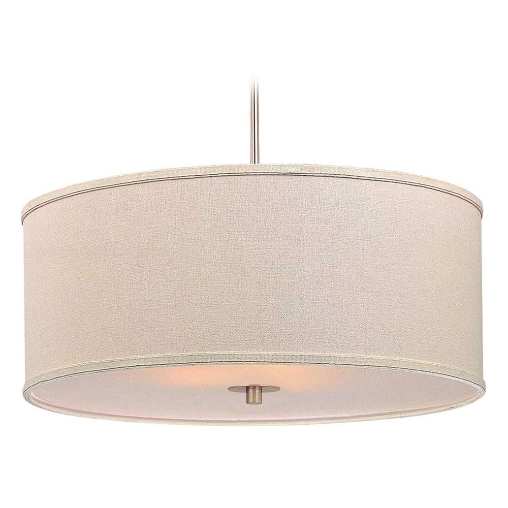 Most Recent Modern Drum Pendant Light With Cream Linen Shade At Destination Lighting Regarding Jill 4 Light Drum Chandeliers (View 25 of 25)