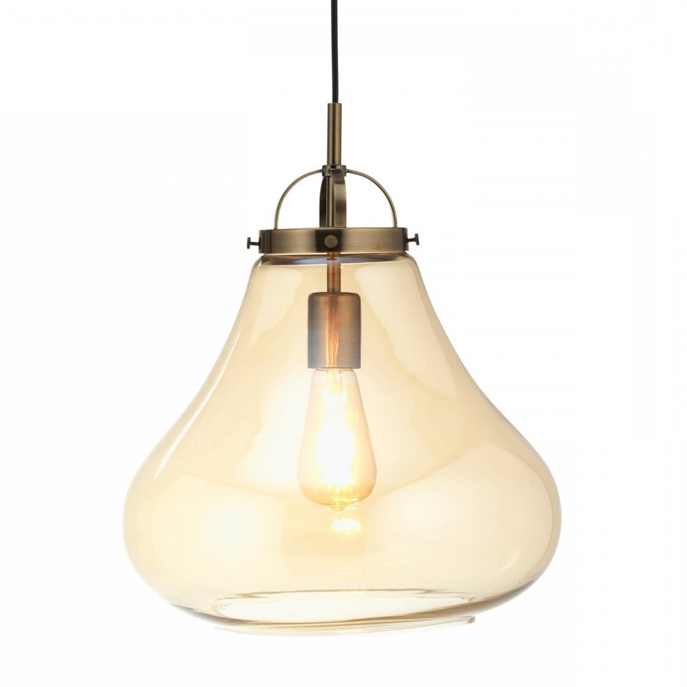 Most Recent Terry 1 Light Single Bell Pendants Within 1009/1 Ab Turua Single Light Ceiling Pendant In Antique Brass Finish With  Amber Glass Shade (View 13 of 25)