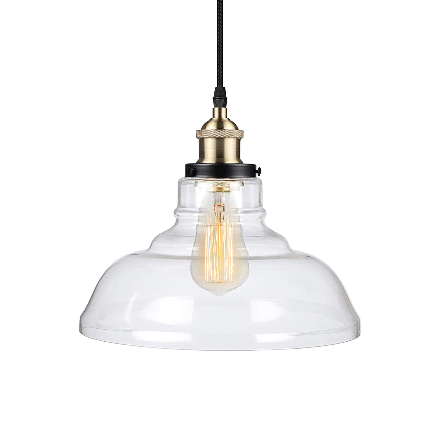 Most Recent Vintage Edison 1 Light Bowl Pendants With Ascher Industrial Edison Vintage Pendant Light, Clear Glass Shade 1 Light  Ceiling Light Fixture, Antique Brass Brushed E26 Socket,  (View 6 of 25)