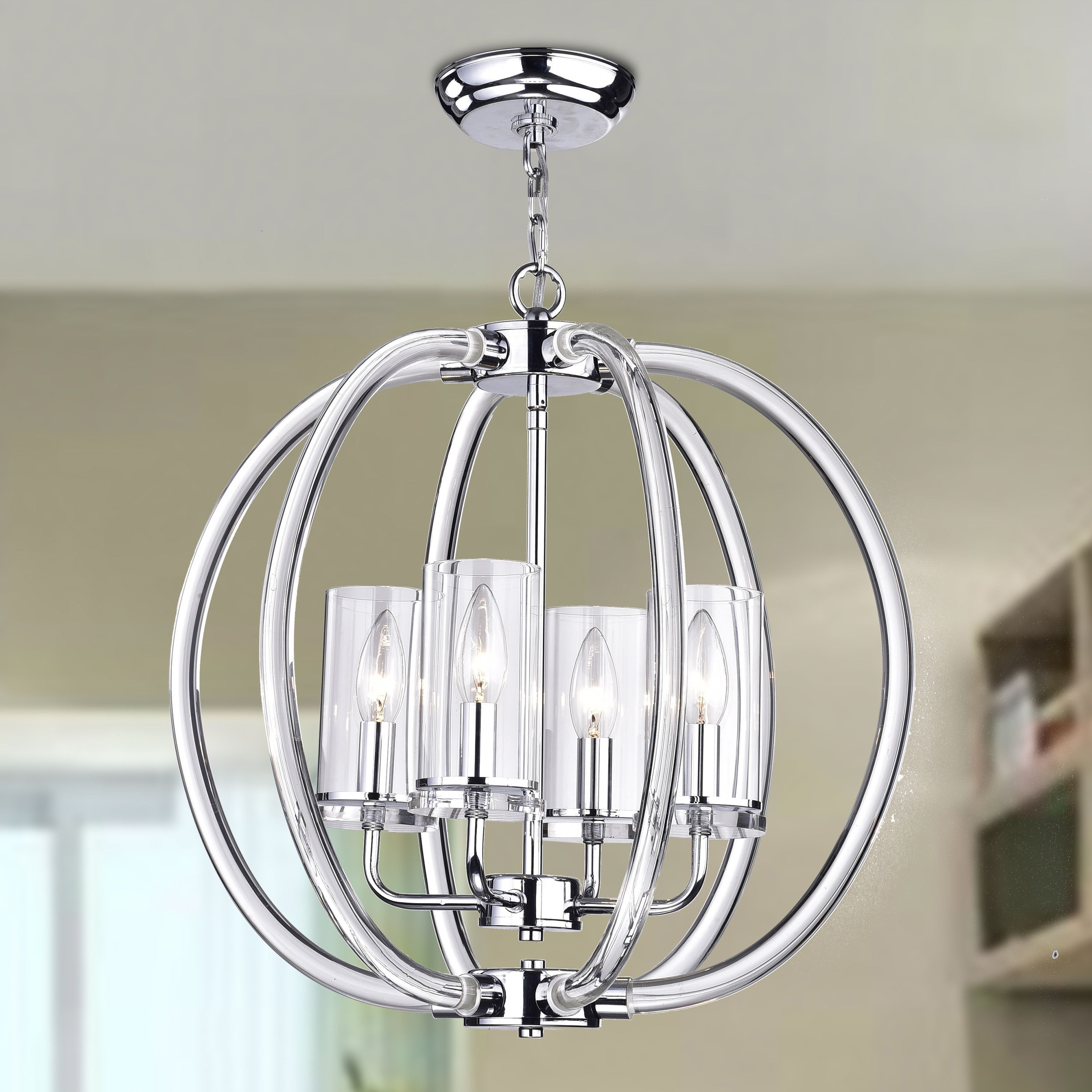 Most Recently Released Kong Enya 4 Light Semi Flush Mount (Chrome), Silver (Crystal Regarding Hendry 4 Light Globe Chandeliers (View 18 of 25)