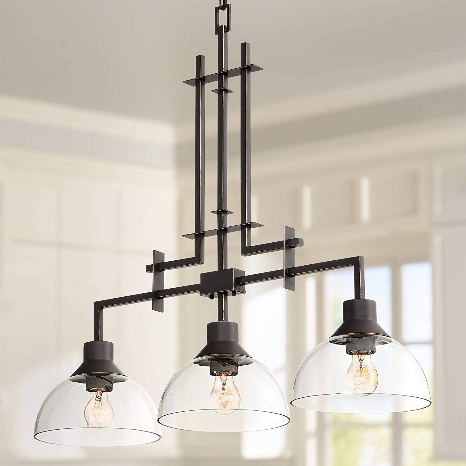 """Most Recently Released Metro 32""""w Bronze And Clear Glass 3 Light Island Chandelier – Franklin Iron  Works Intended For Lynn 6 Light Geometric Chandeliers (View 11 of 25)"""