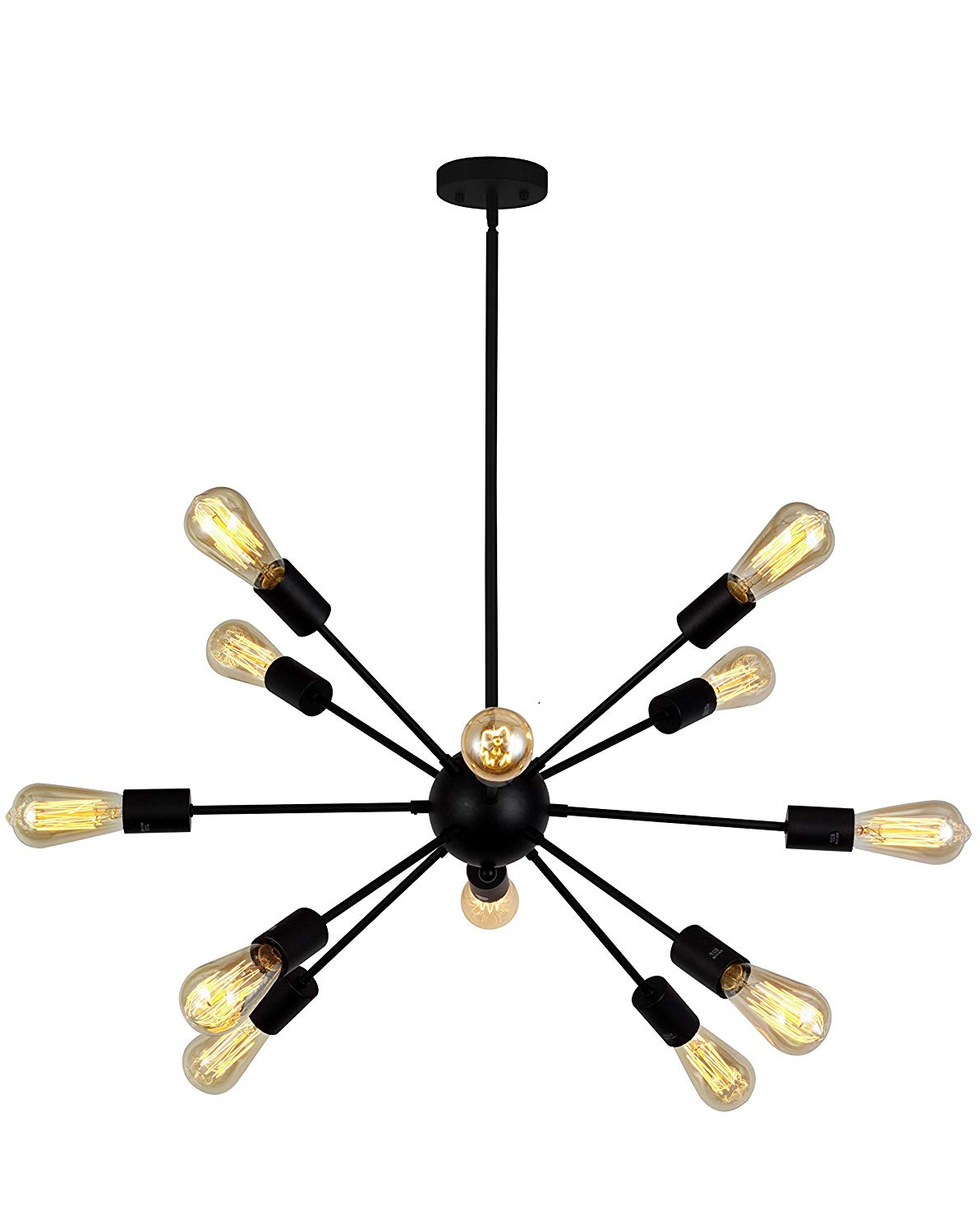 Most Recently Released Nelly 12 Light Sputnik Chandeliers Intended For Vinluz 12 Light Contemporary Sputnik Chandelier Black Mid Century Modern  Ceiling Light Fixtures Hanging Rustic Industrial Pendant Lighting For  Kitchen (View 12 of 25)