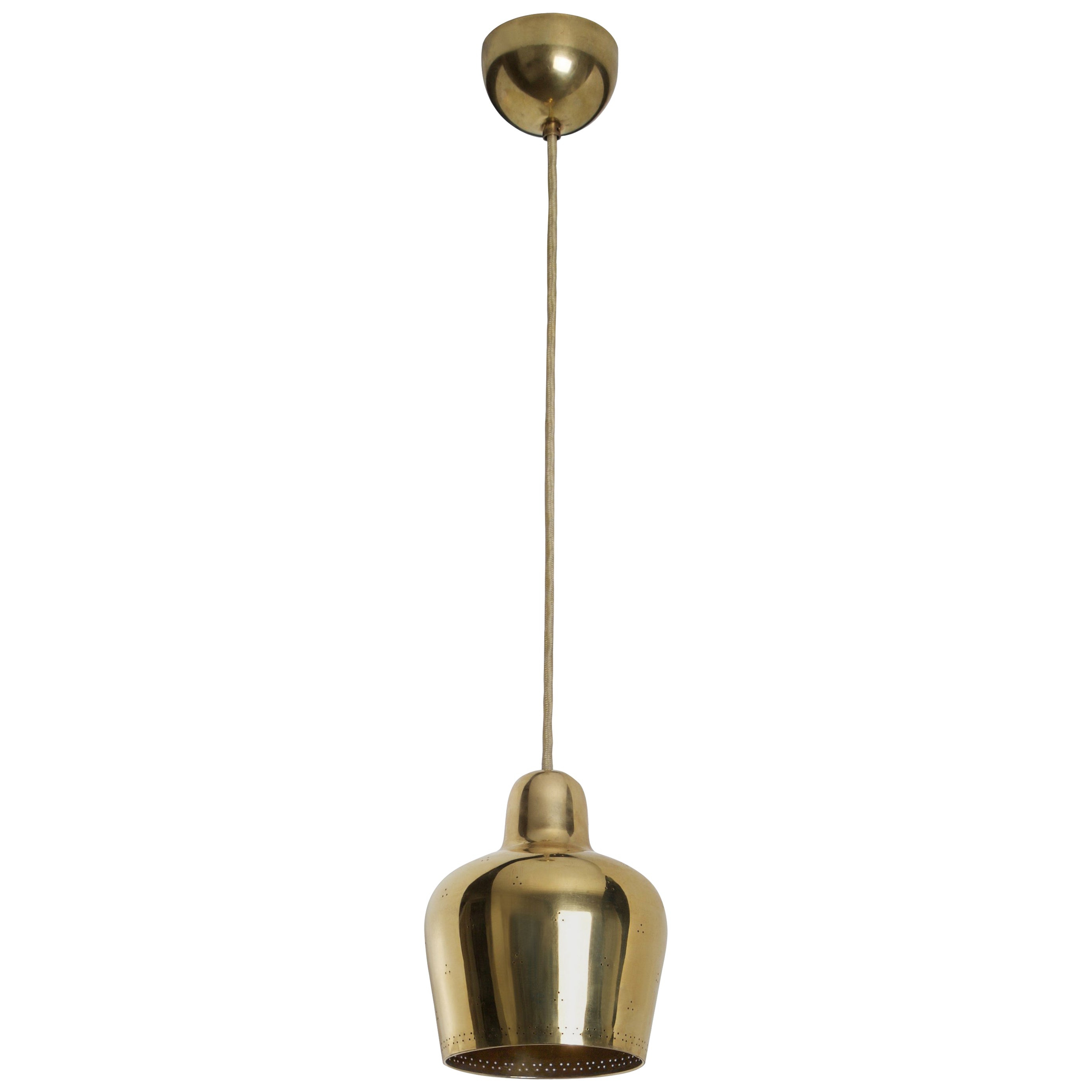 Most Recently Released Paavo Tynell Alvar Aalto, Rare Golden Bell Pendant Light, 1940S With Regard To Houon 1 Light Cone Bell Pendants (View 25 of 25)