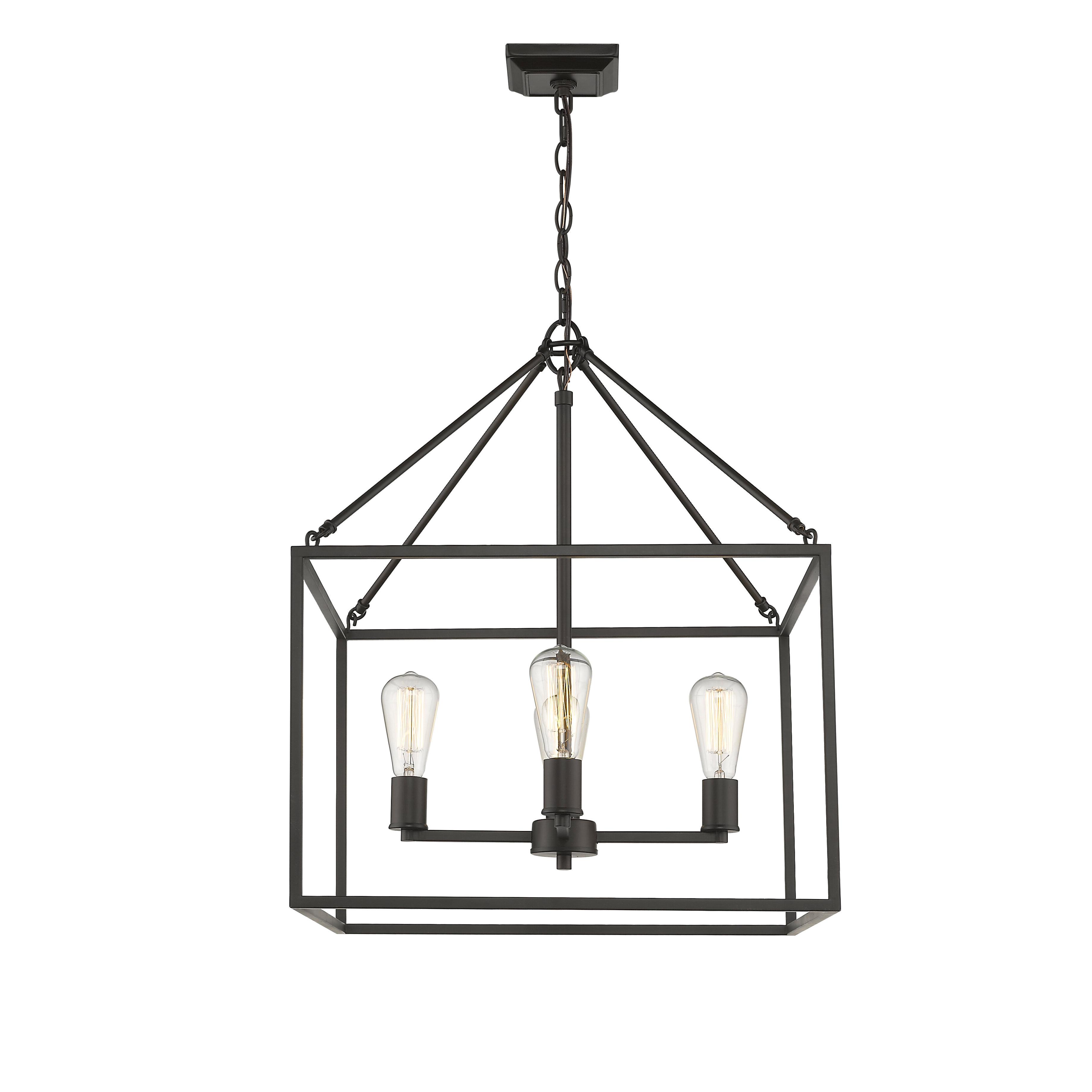 Most Recently Released Zabel 4 Light Lantern Square / Rectangle Pendant Within Sherri Ann 3 Light Lantern Square / Rectangle Pendants (View 9 of 25)