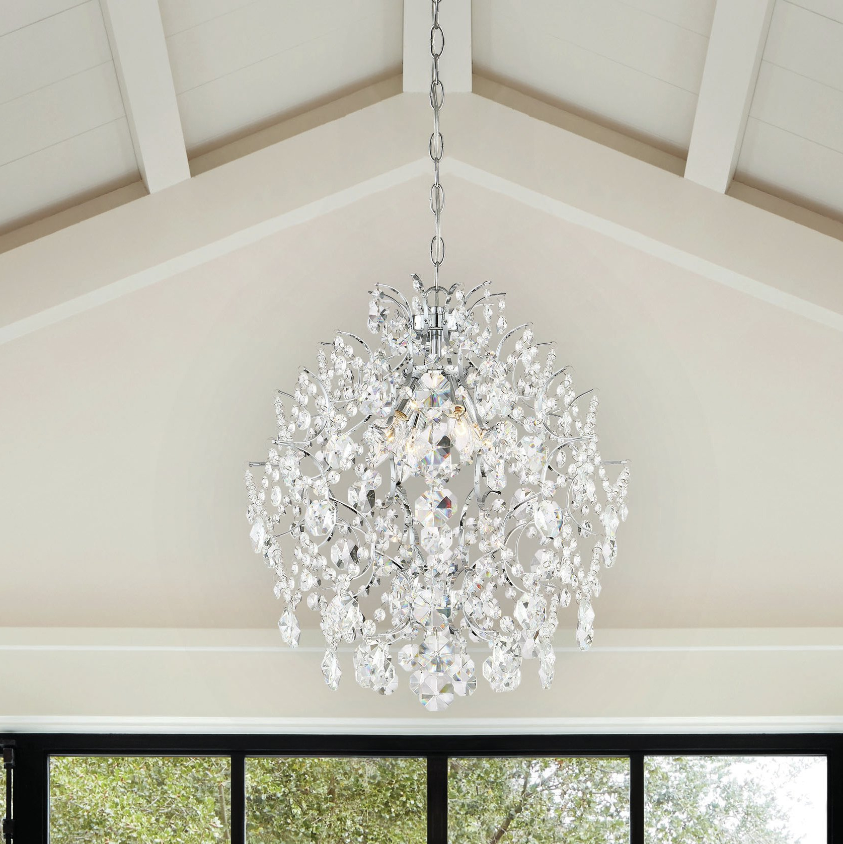 Most Up To Date Aurore 4 Light Crystal Chandeliers With Regard To 4 Light Chrome Crystal Chandelier (View 14 of 25)