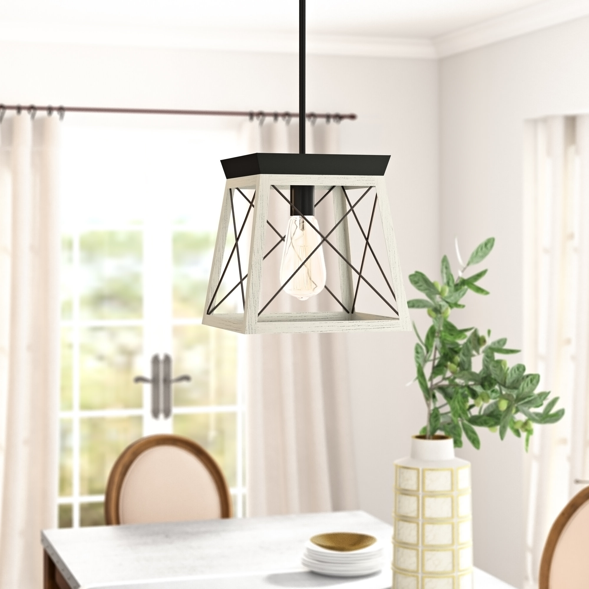 Most Up To Date Delon 1 Light Lantern Geometric Pendant In Louanne 1 Light Lantern Geometric Pendants (View 3 of 25)
