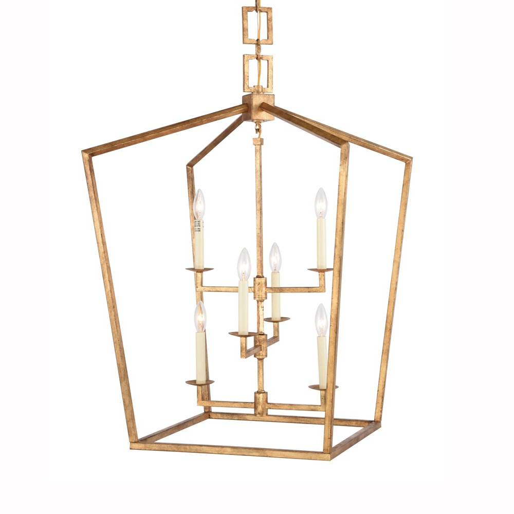"Most Up To Date Elegant Lighting 1512D24 Denmark 6 Light 24"" Wide Cage Style Intended For Tiana 4 Light Geometric Chandeliers (View 23 of 25)"