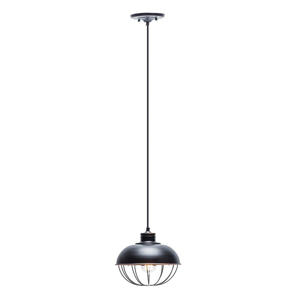 Most Up To Date Globe Electric 1 Light Oil Rubbed Bronze Vintage Hanging Half Moon Caged Pendant With Black Cord With Regard To Demi 1 Light Globe Pendants (View 4 of 25)