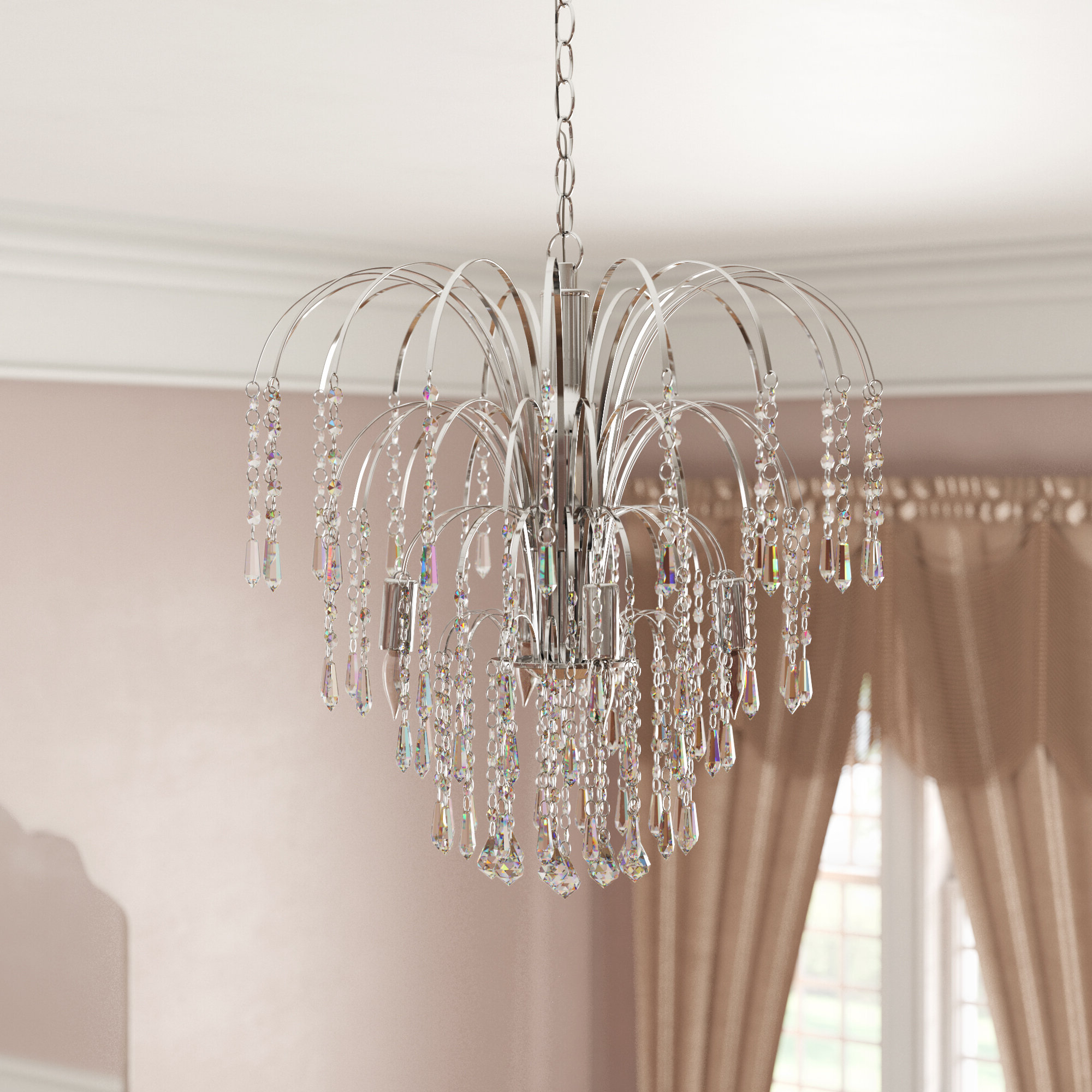 Most Up To Date Hermilda 4 Light Crystal Chandelier With Oriana 4 Light Single Geometric Chandeliers (View 12 of 25)