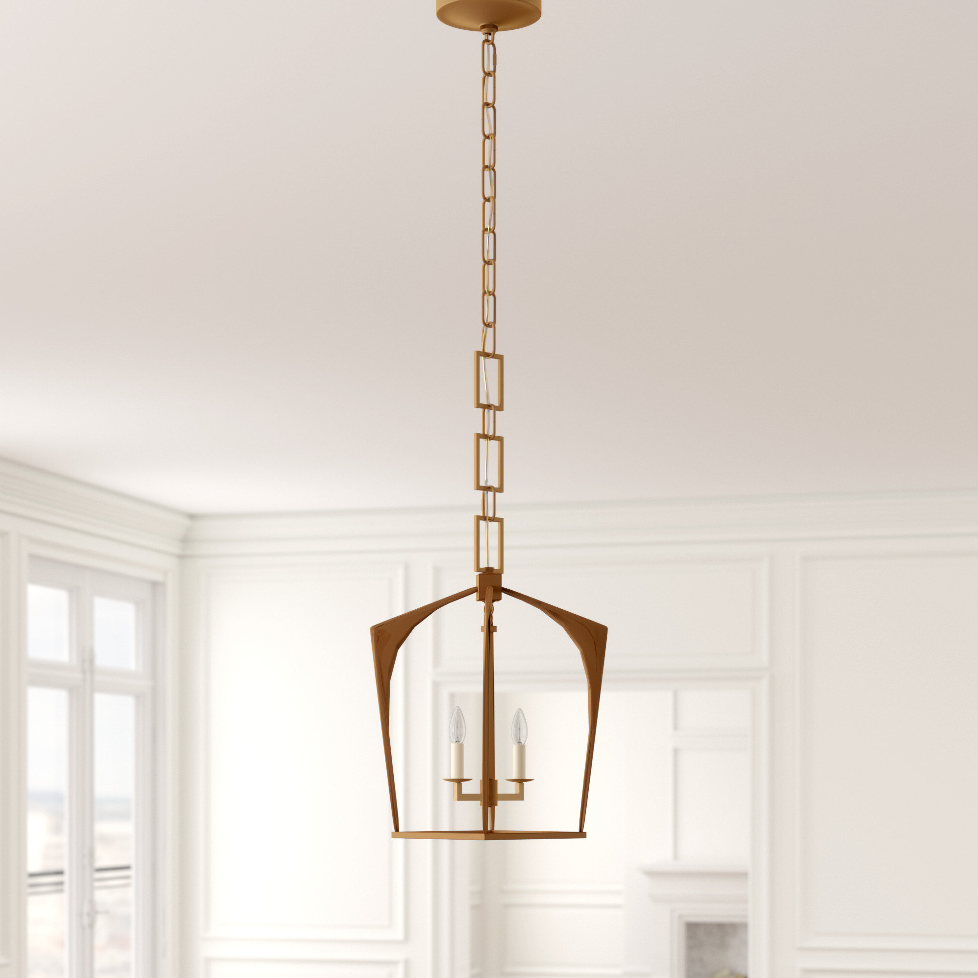 Most Up To Date Isoline 2 Light Lantern Geometric Pendant Regarding Tiana 4 Light Geometric Chandeliers (View 10 of 25)