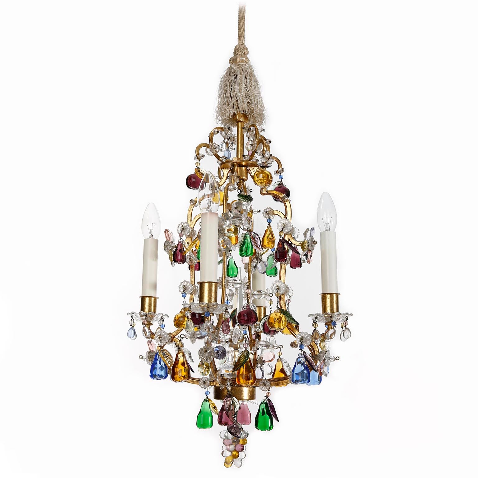 Most Up To Date Kenedy 9 Light Candle Style Chandeliers With Regard To Lobmeyr 'fruit' Chandelier Pendant Light, Glass Gilt Metal, 1950S (View 20 of 25)