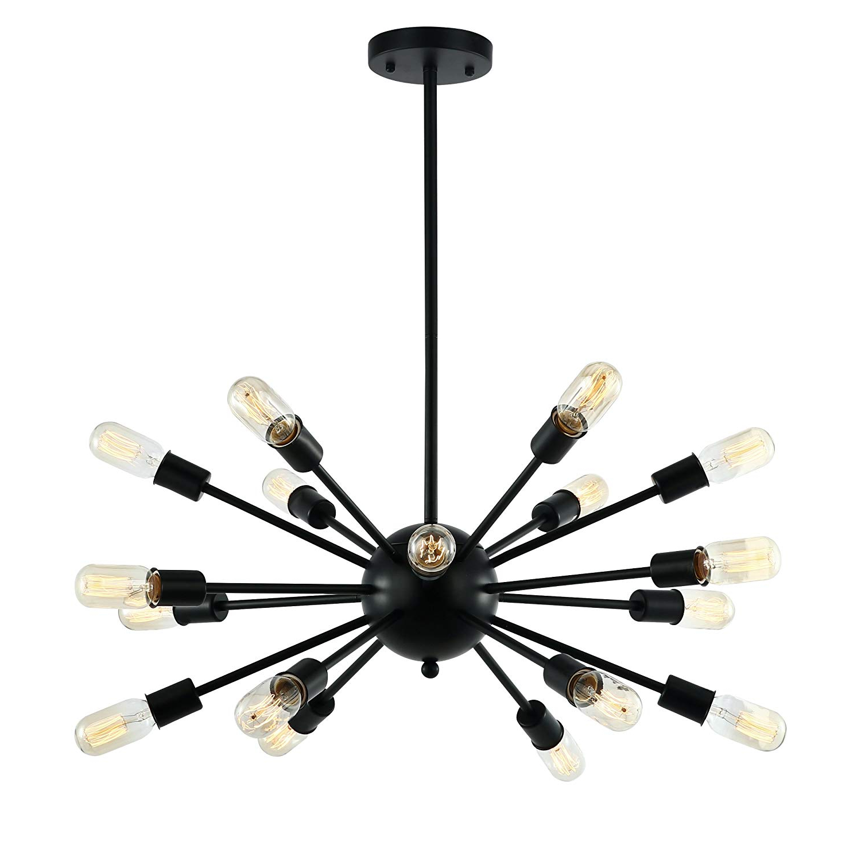 Most Up To Date Light Society Sputnik 18 Light Chandelier Pendant, Matte Black, Mid Century  Modern Industrial Starburst Style Lighting Fixture (Ls C115 Blk) Inside Defreitas 18 Light Sputnik Chandeliers (View 4 of 25)
