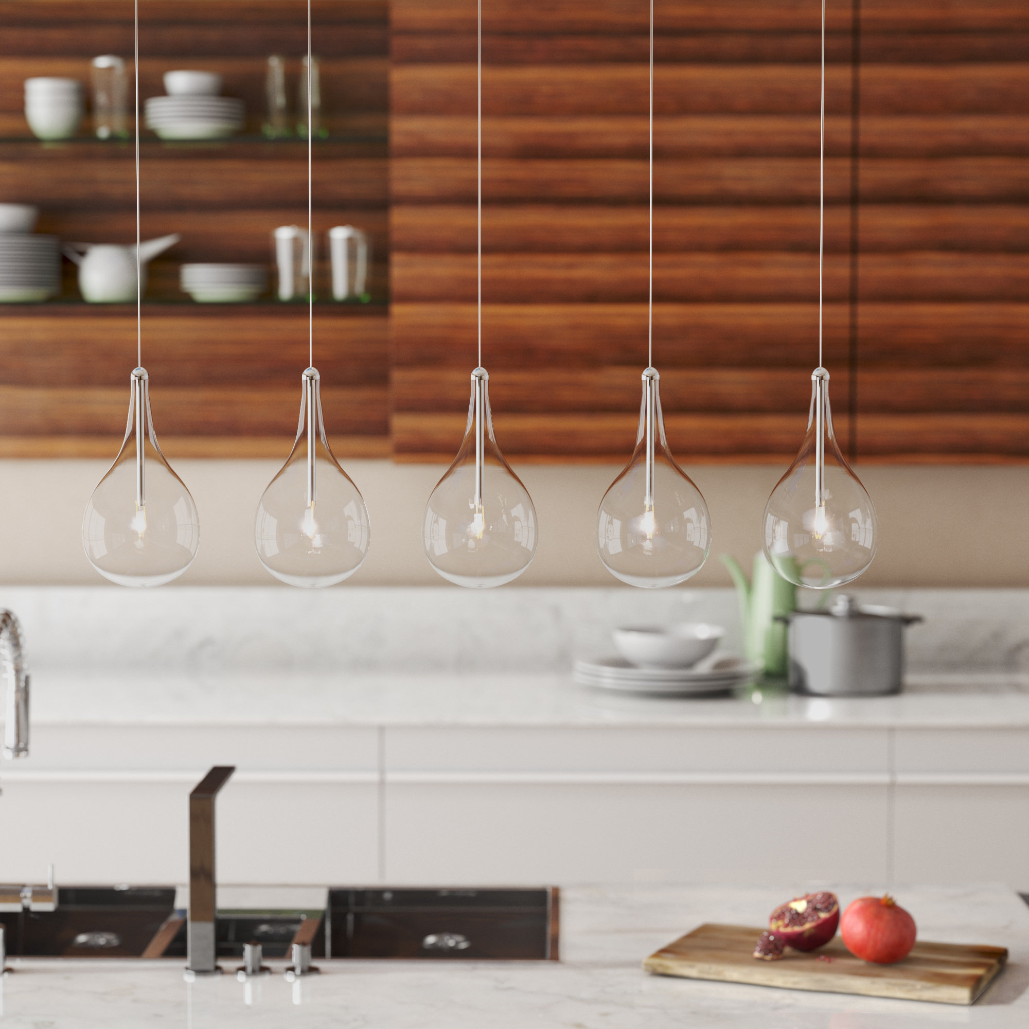 Most Up To Date Neal 9 Light Kitchen Island Teardrop Pendants Inside Neal 5 Light Kitchen Island Teardrop Pendant (View 9 of 25)