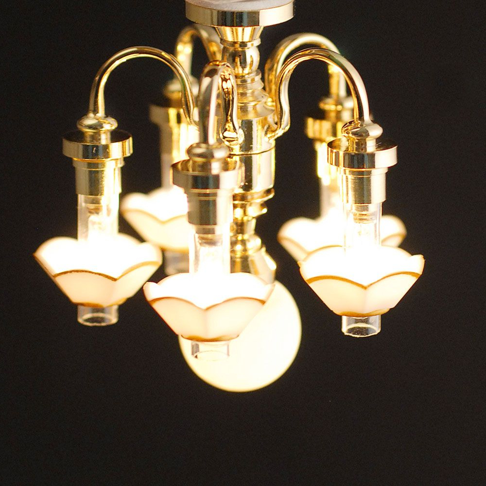 Most Up To Date Suki 5 Light Shaded Chandeliers Throughout 6 Light 5 Down Arm Chandelier, Dolls House Lt  (View 21 of 25)