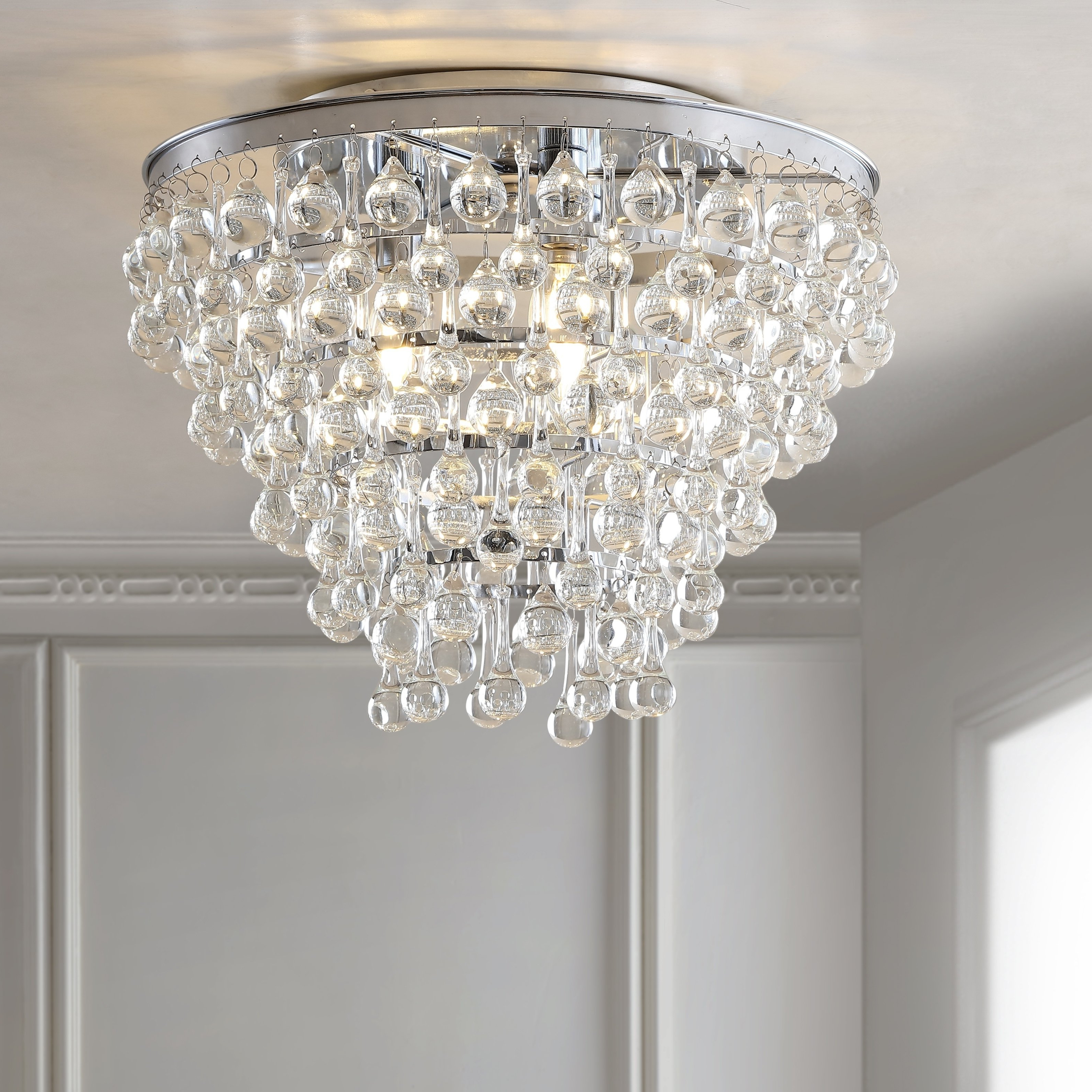 """Most Up To Date Verdell 5 Light Crystal Chandeliers Within Toronto 16"""" Metal/crystal Led Flush Mount, Chrome,silver (View 17 of 25)"""
