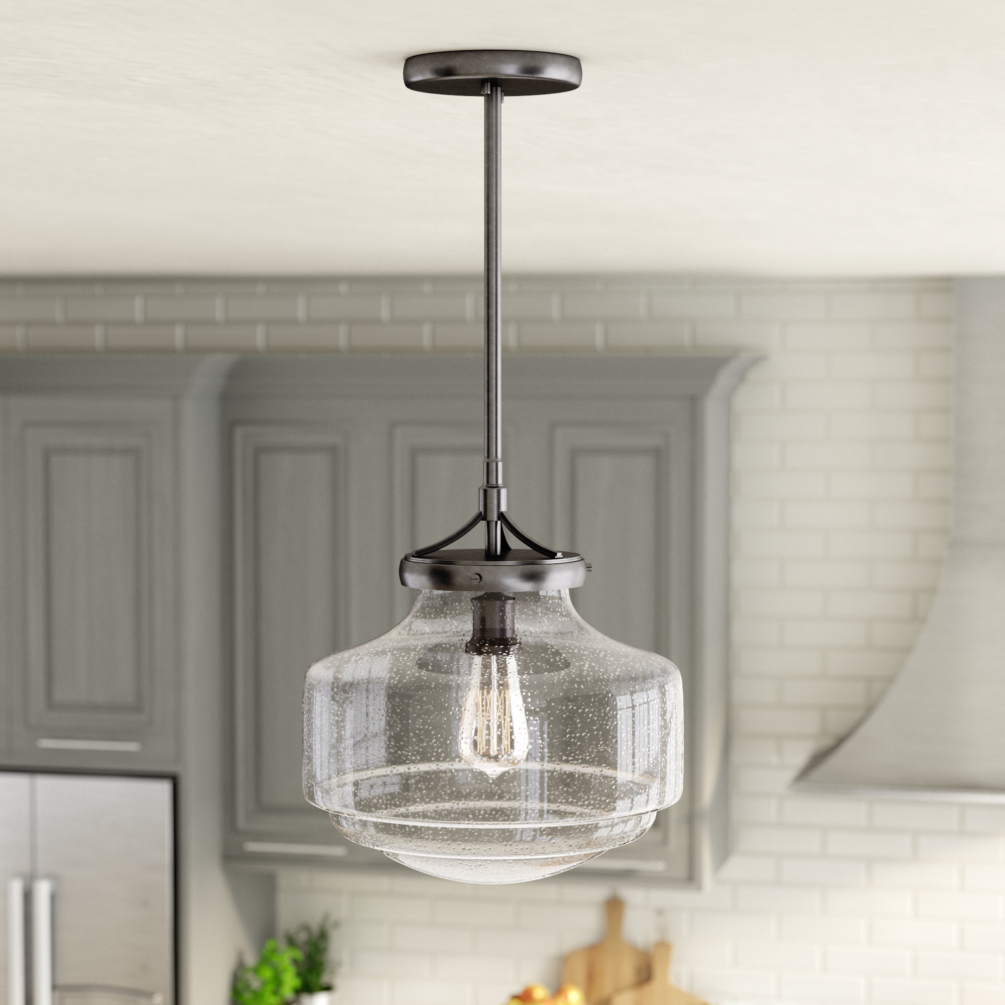 Nadine 1-Light Single Schoolhouse Pendants with Famous Laurel Foundry Modern Farmhouse Marybeth 1-Light Schoolhouse