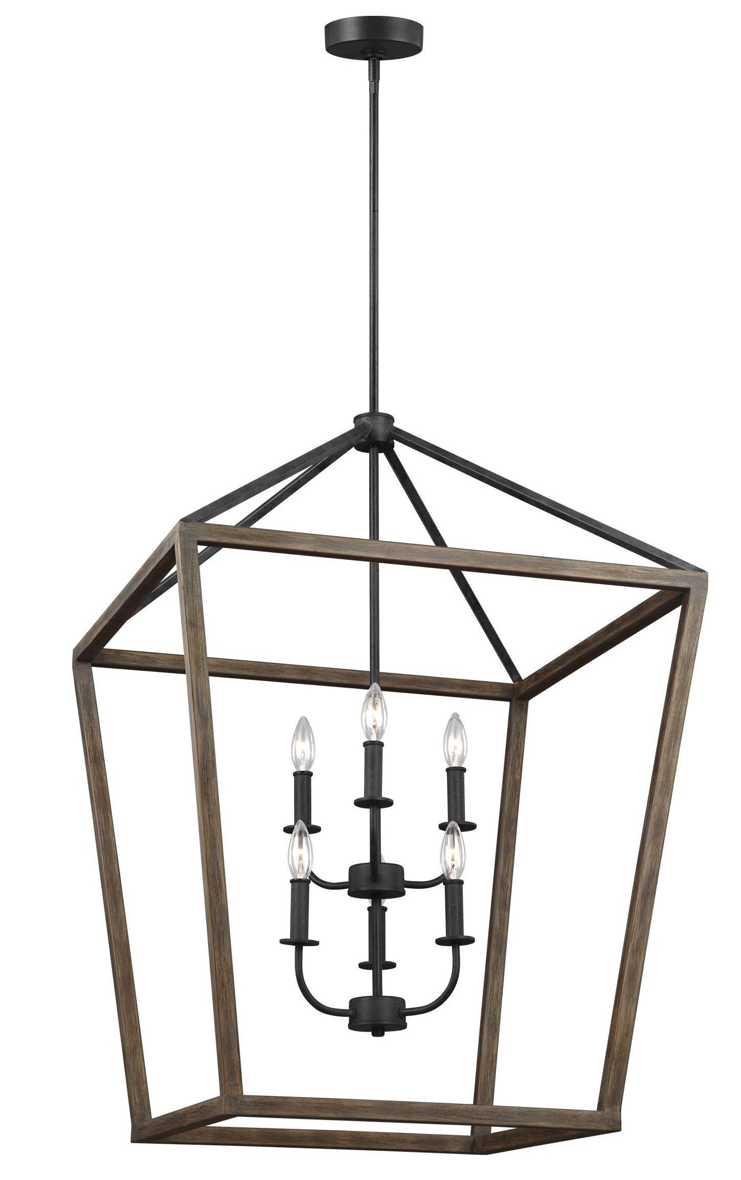 Natarsha 6 Light Lantern Geometric Pendant In Preferred Carmen 8 Light Lantern Tiered Pendants (View 19 of 25)