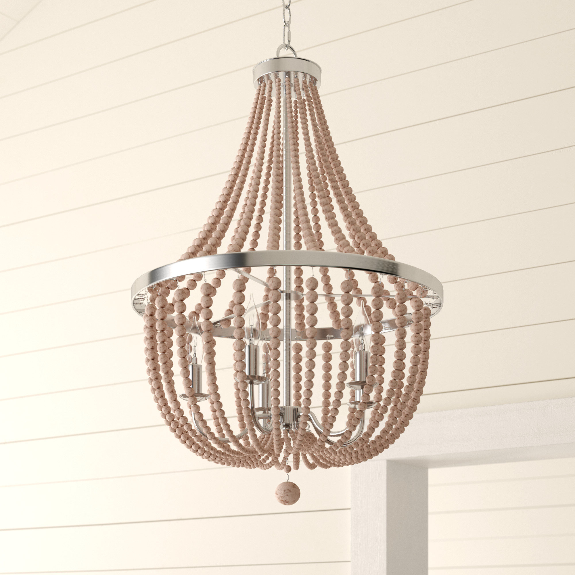 Nehemiah 3-Light Empire Chandeliers pertaining to Best and Newest Bay Isle Home Tilden Wood Bead 5-Light Empire Chandelier