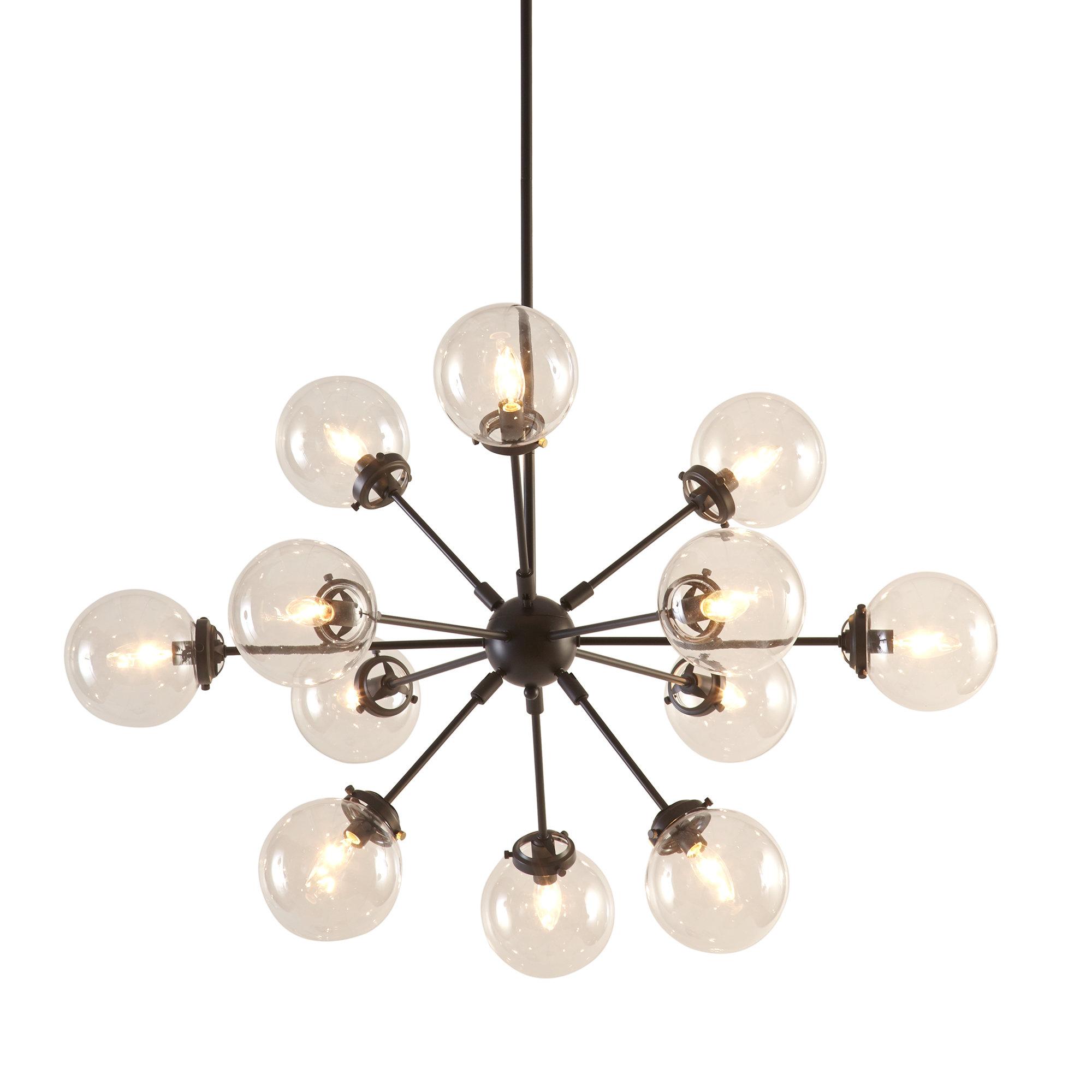 Nelly 12-Light Sputnik Chandeliers with regard to Favorite Modern Rustic Interiors Asher 12-Light Sputnik Chandelier