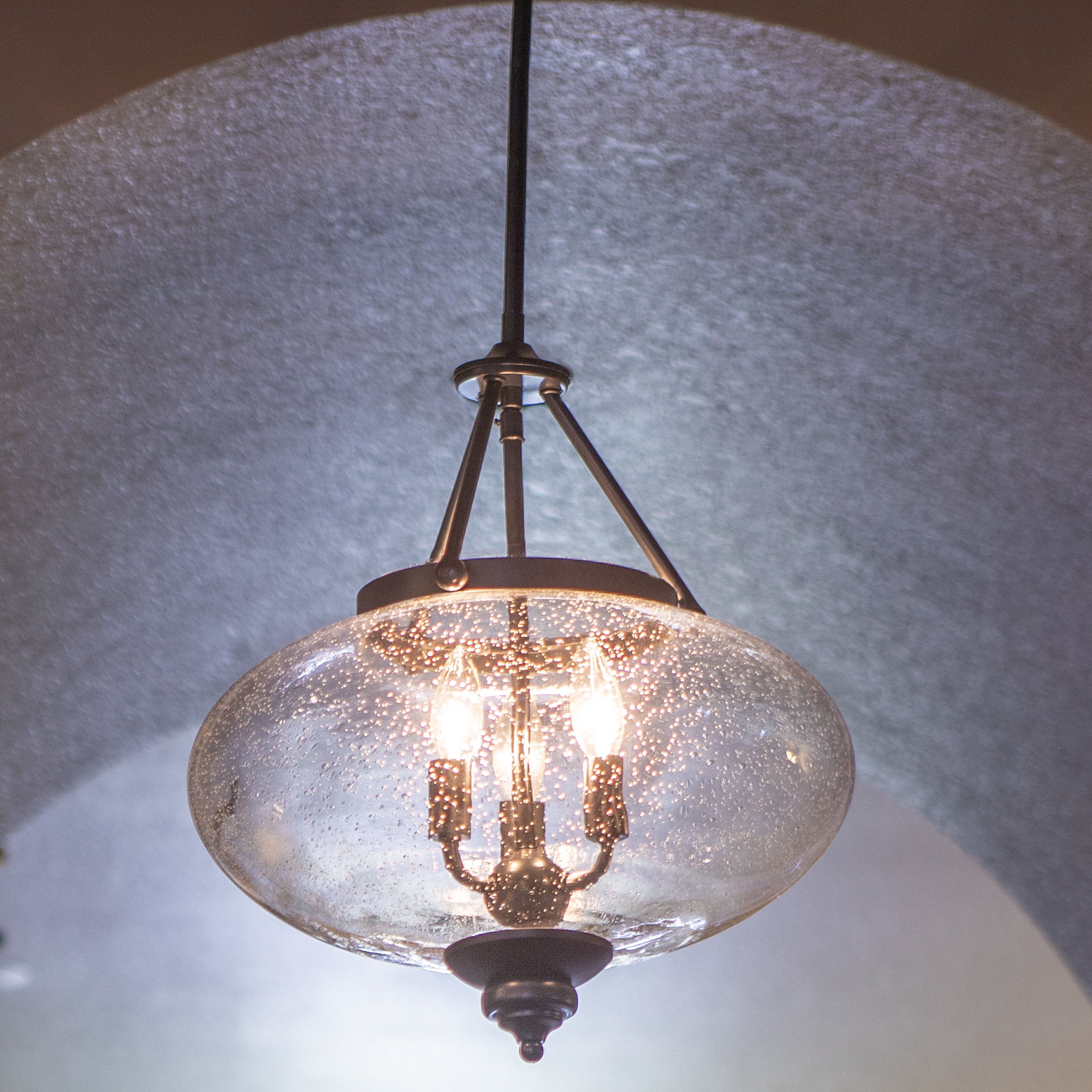 Newent 3-Light Single Bowl Pendants for Fashionable Farmhouse & Rustic Charlton Home Chandeliers