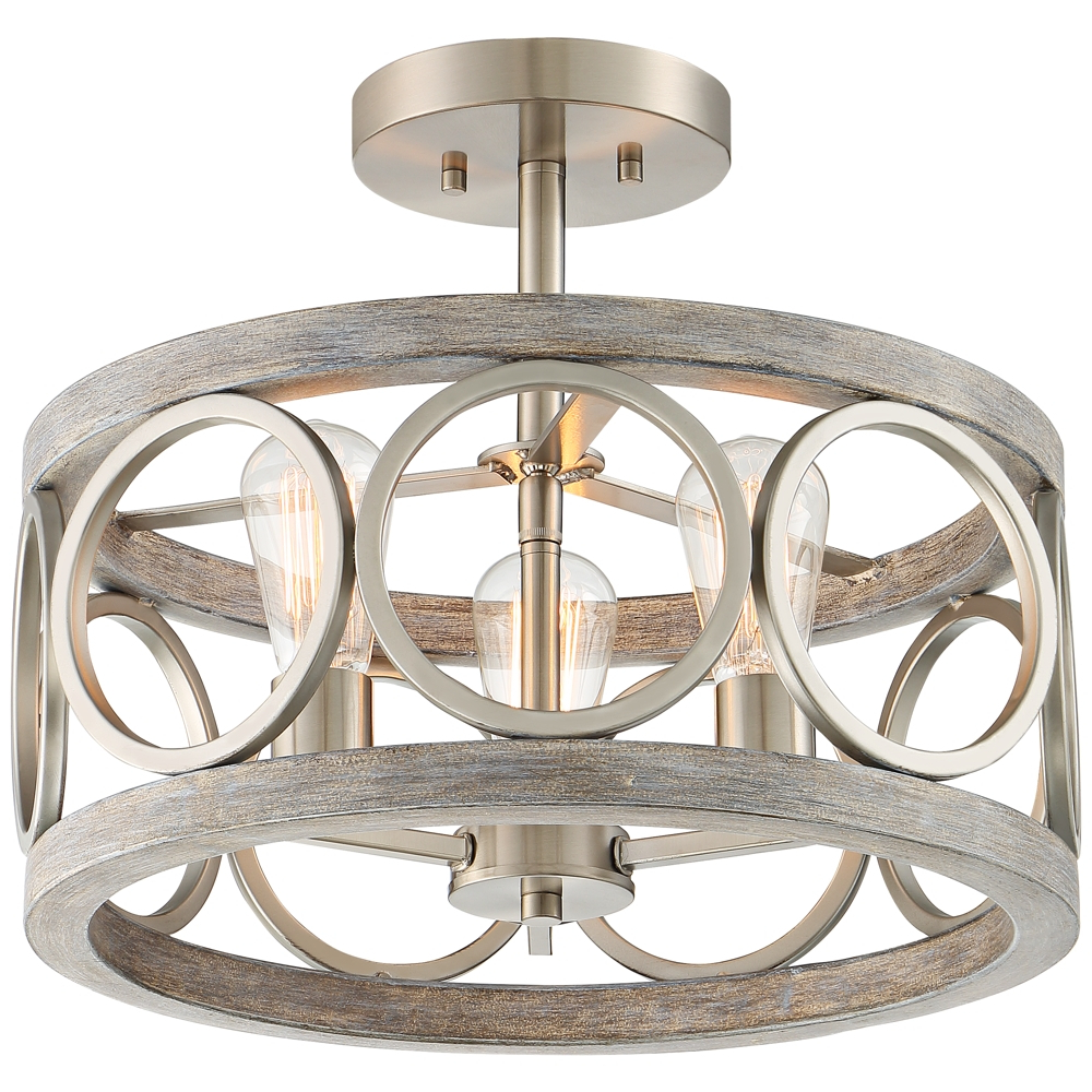 """Newent 3 Light Single Bowl Pendants Pertaining To Famous Salima 16"""" Wide Nickel And Gray Wood 3 Light Ceiling Light (View 17 of 25)"""