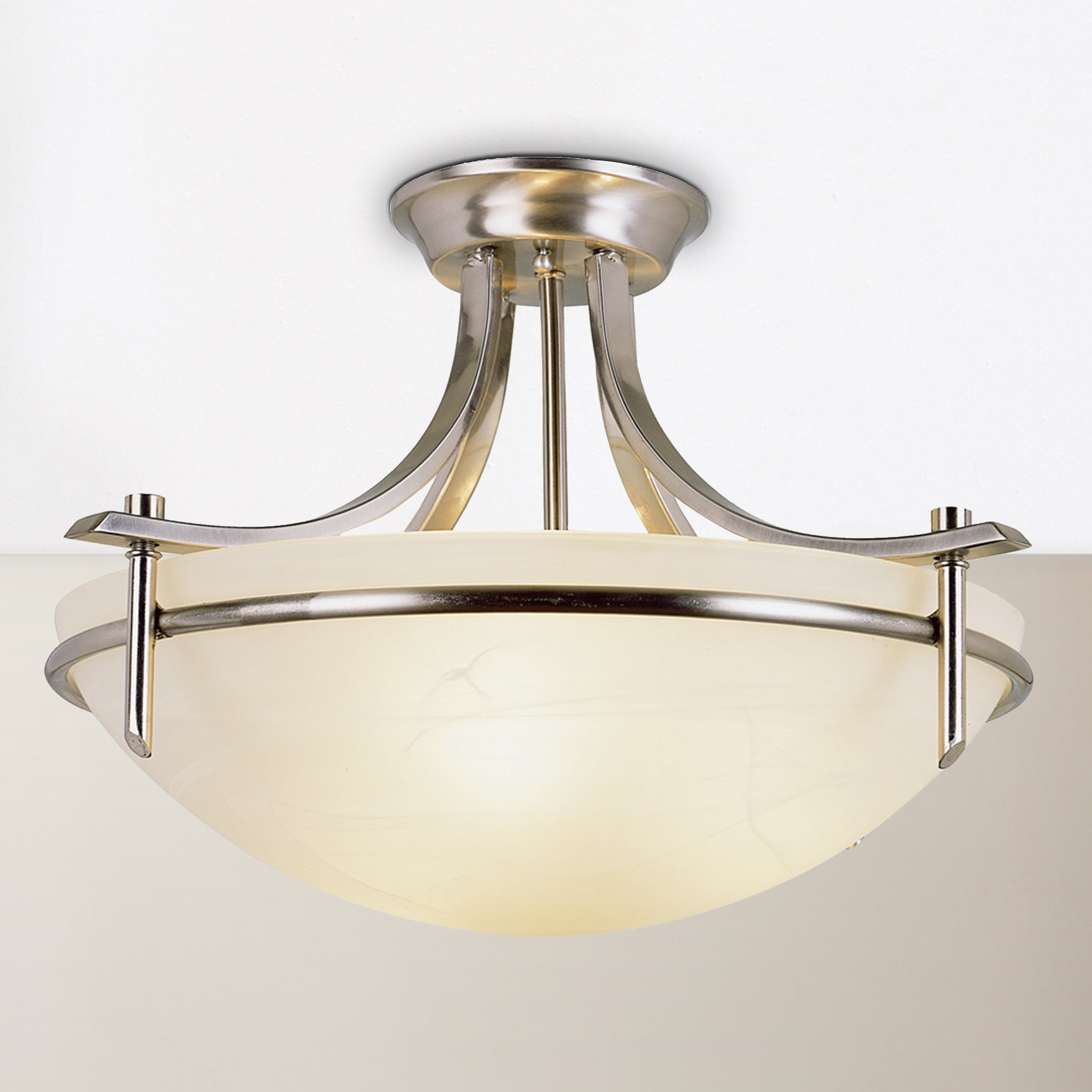 Newent 3 Light Single Bowl Pendants With Most Current Ferrante 3 Light Semi Flush Mount (View 21 of 25)