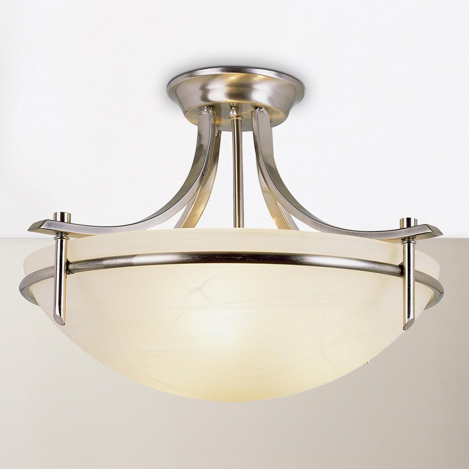 Newent 3-Light Single Bowl Pendants with Most Current Ferrante 3-Light Semi Flush Mount