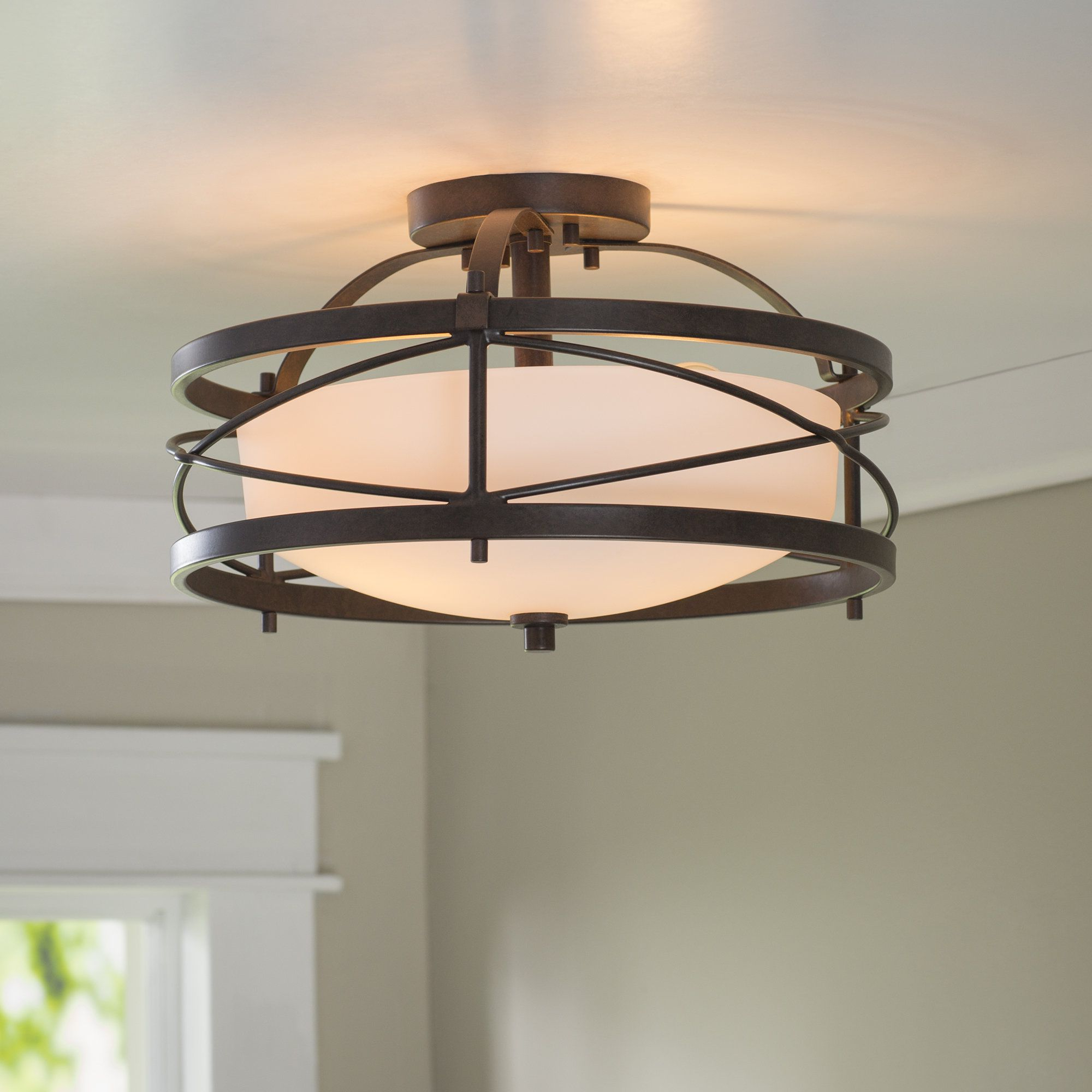 Newent 5 Light Shaded Chandeliers Inside Newest Farrier 2 Light Semi Flush Mount In  (View 13 of 25)