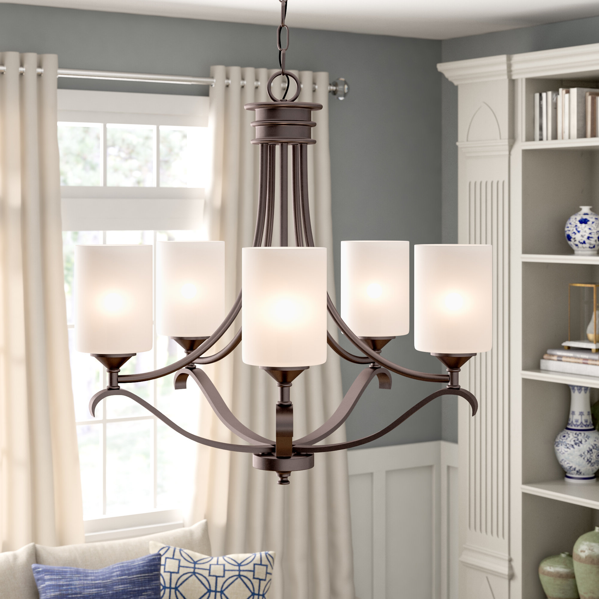 Newent 5 Light Shaded Chandeliers Throughout Most Up To Date Suki 5 Light Shaded Chandelier (View 15 of 25)