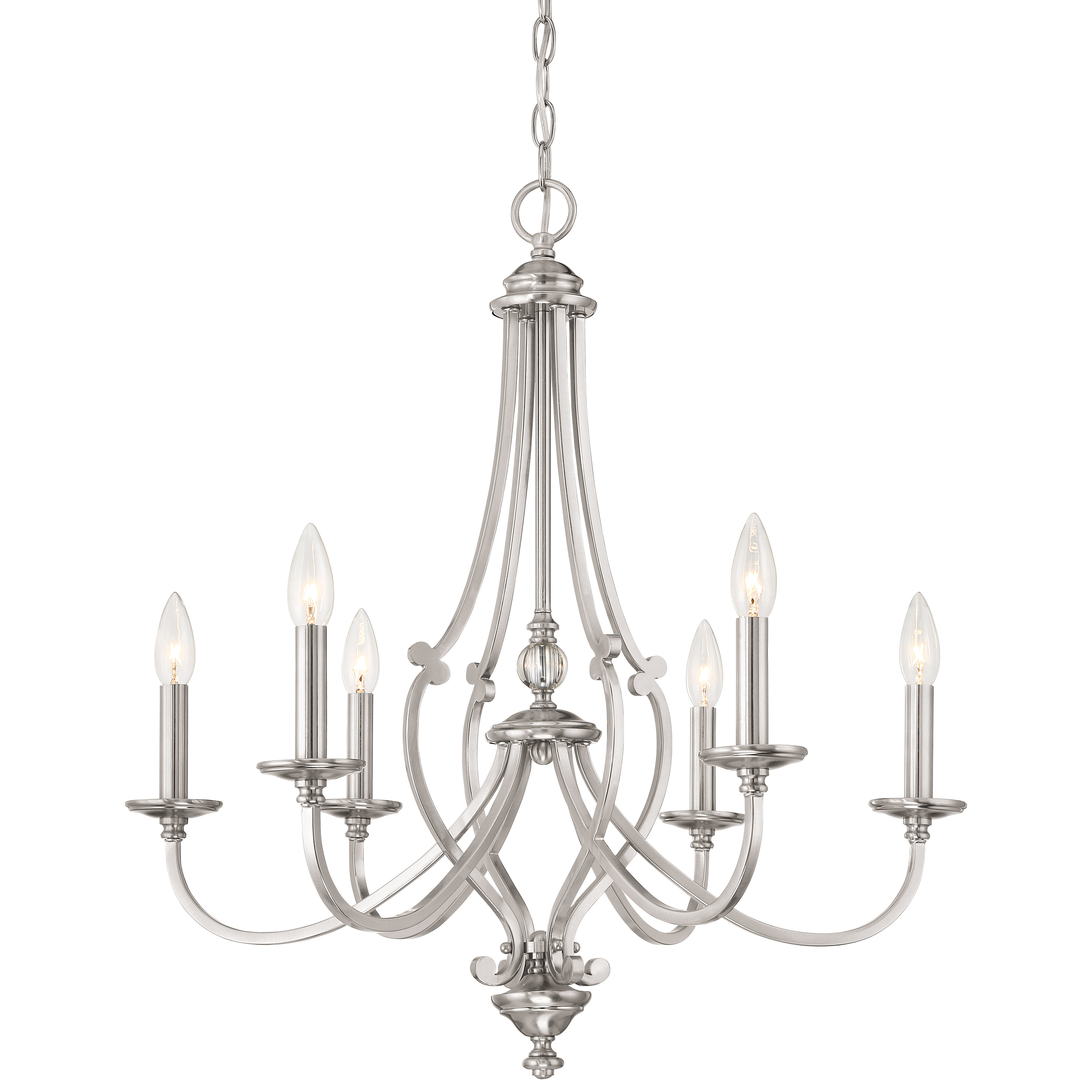 Newest Audane 6-Light Chandelier inside Berger 5-Light Candle Style Chandeliers