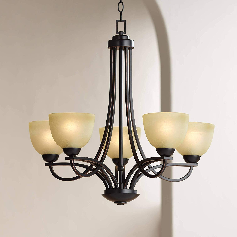 "Newest Bennington 26"" Wide 5-Light Italian Bronze Chandelier - Franklin Iron Works regarding Bennington 4-Light Candle Style Chandeliers"