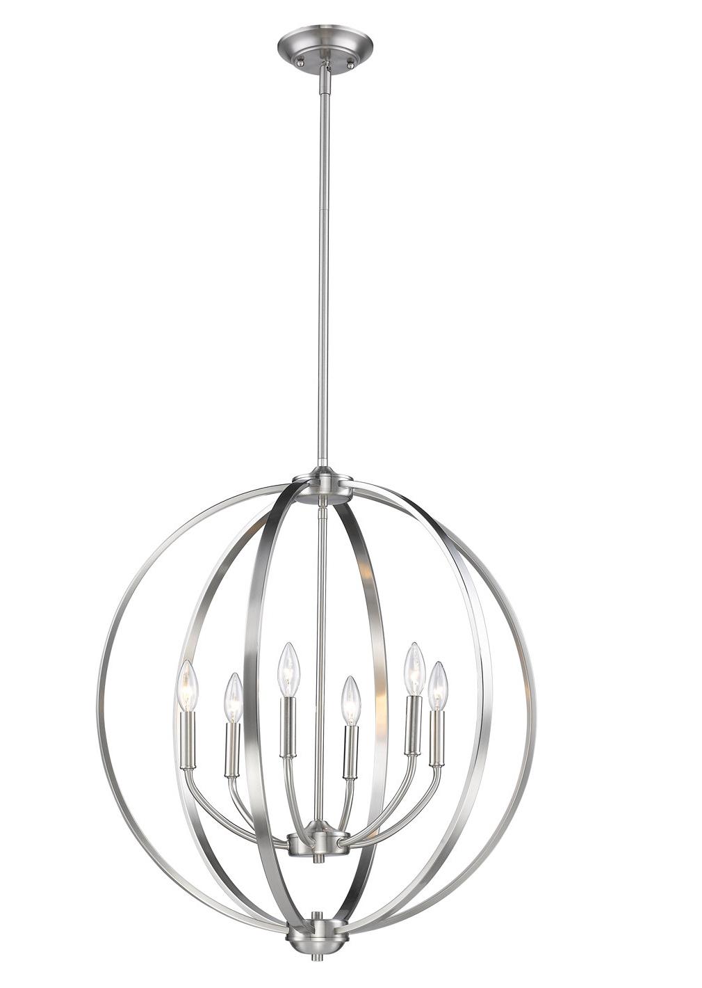Newest Earlene 6 Light Globe Chandelier Throughout Adcock 3 Light Single Globe Pendants (View 17 of 25)
