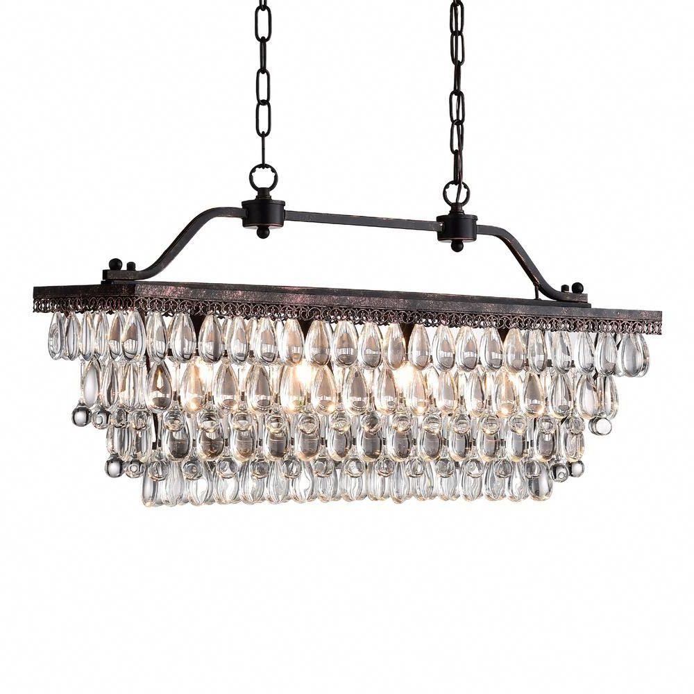 Newest Edvivi 4-Light Antique Bronze Crystal Chandelier In 2019 with regard to Gracelyn 8-Light Kitchen Island Pendants