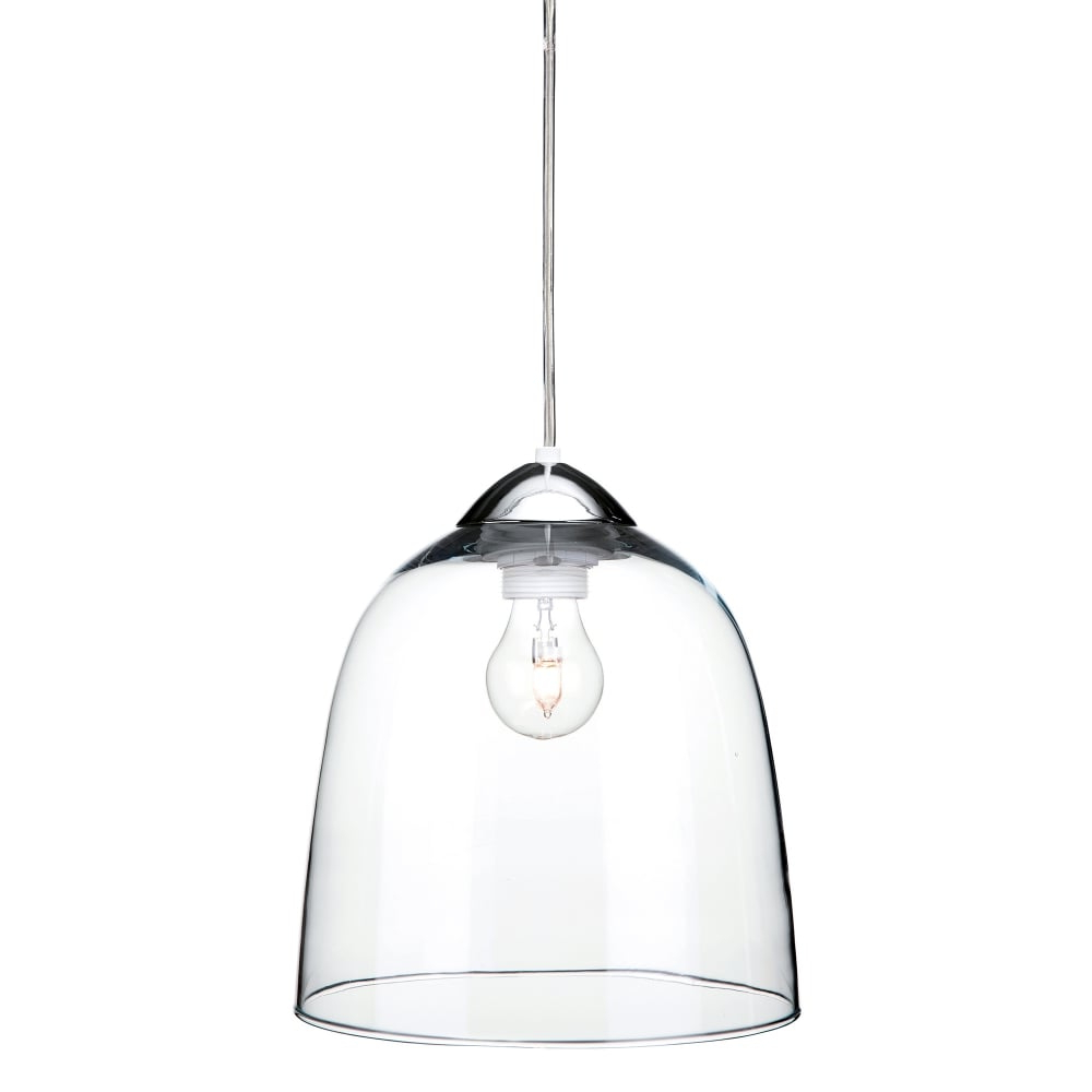 Newest Firstlight Bordeaux Single Light Ceiling Pendant In Polished Chrome Finish With Clear Glass Shade intended for Nolan 1-Light Single Cylinder Pendants