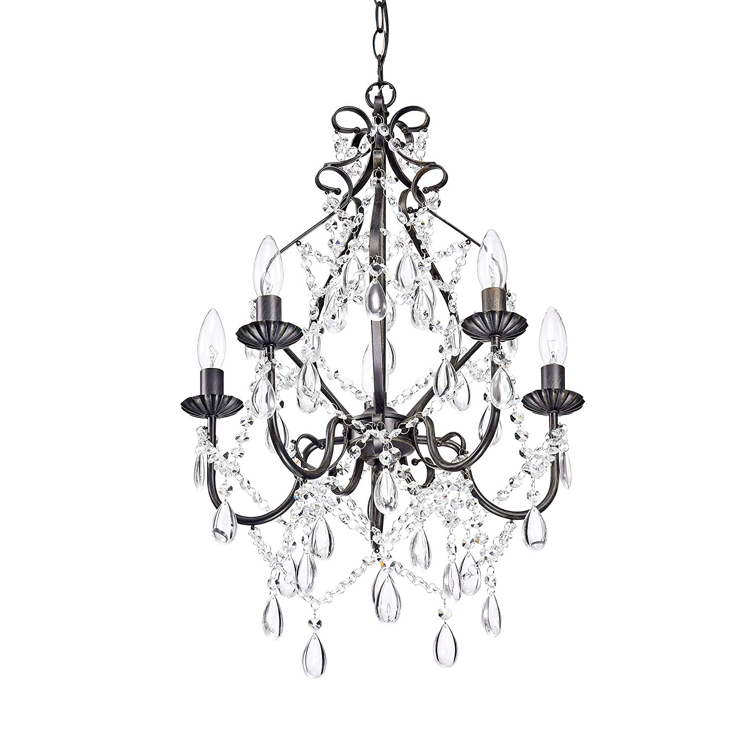 Newest Florentina 5 Light Candle Style Chandeliers Within Bethany 5 Light Iron And Crystal Candle Chandelier (View 23 of 25)