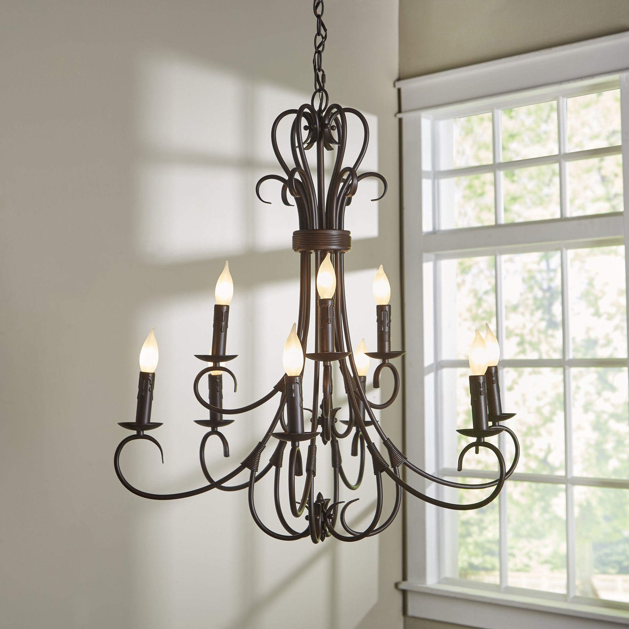 Newest Gaines 9-Light Candle-Style Chandelier regarding Gaines 9-Light Candle Style Chandeliers