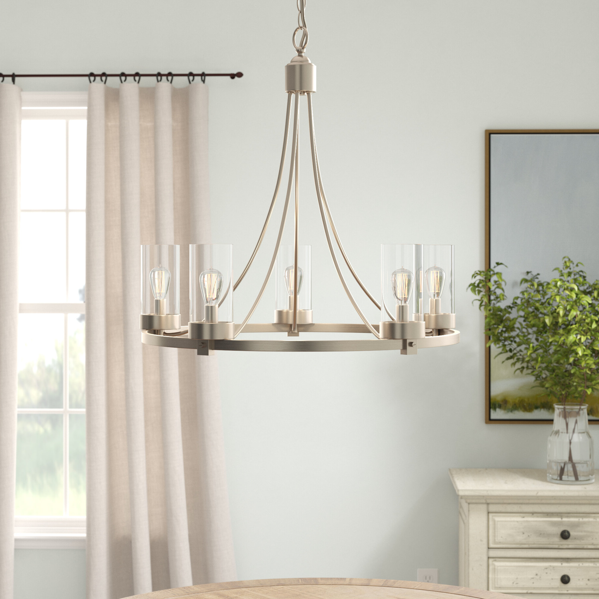 Newest Janette 5-Light Wagon Wheel Chandelier in Janette 5-Light Wagon Wheel Chandeliers