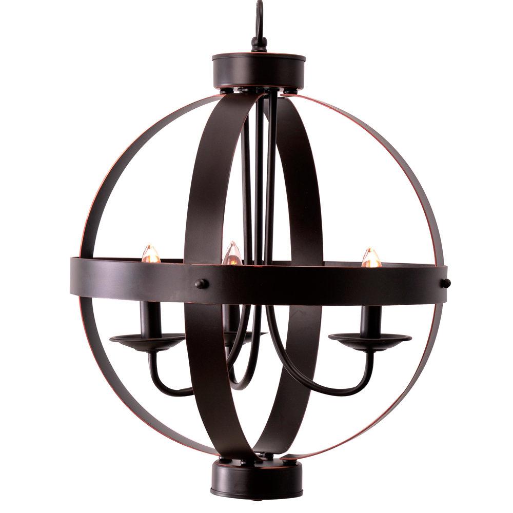 Newest La Sarre 3-Light Globe Chandelier in La Barge 3-Light Globe Chandeliers