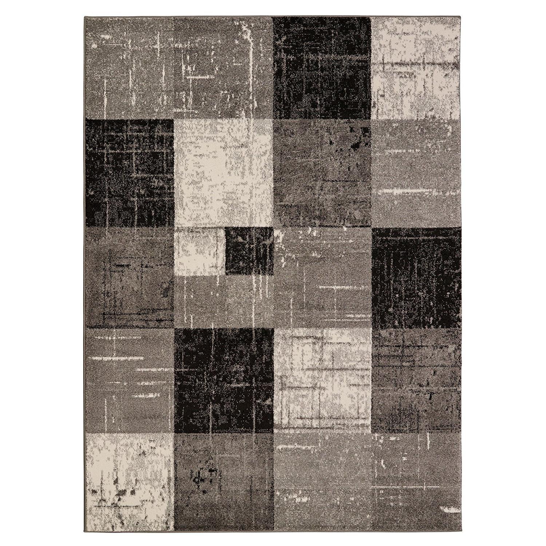 Newest Mcwhirter Geometric/square Tiles Gray/black Area Rug Regarding Robblee 4 Light Geometric Pendants (View 13 of 25)