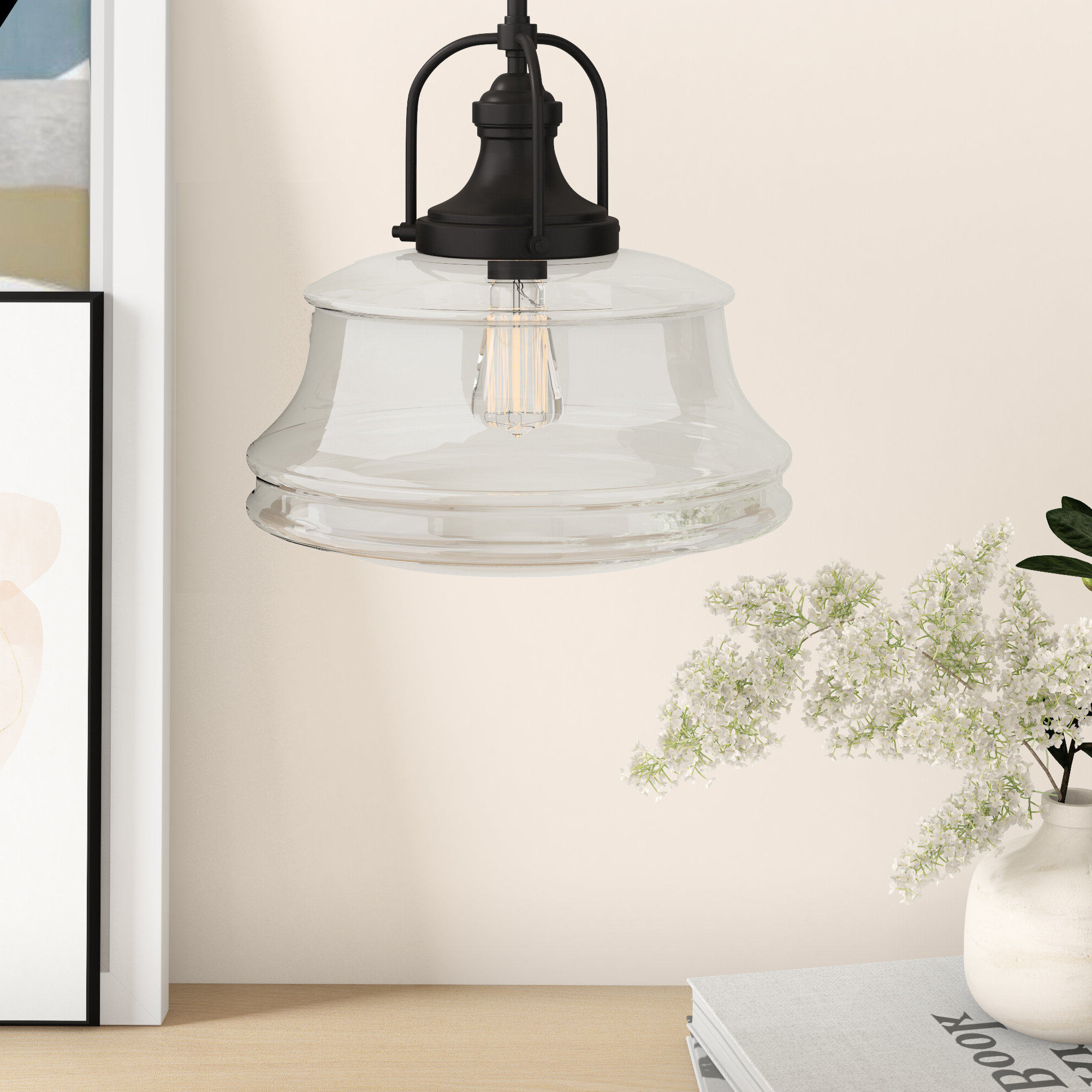 Newest Nadine 1-Light Single Schoolhouse Pendant within 1-Light Single Schoolhouse Pendants